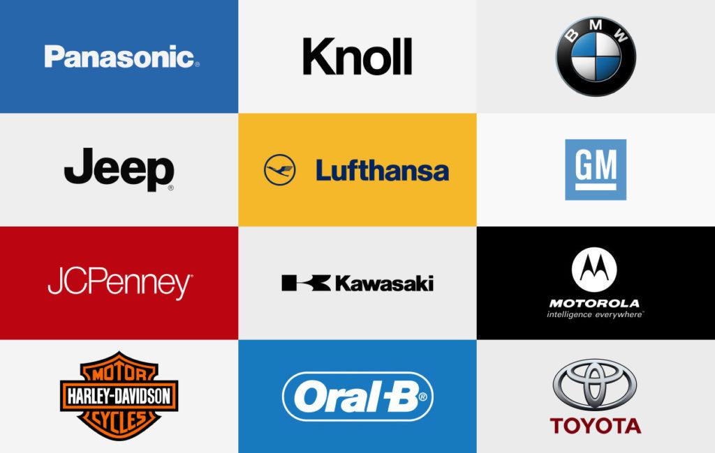 Helvetica常被用成各個品牌的logo,有如全球化的發言人。圖片來源: graphicpear