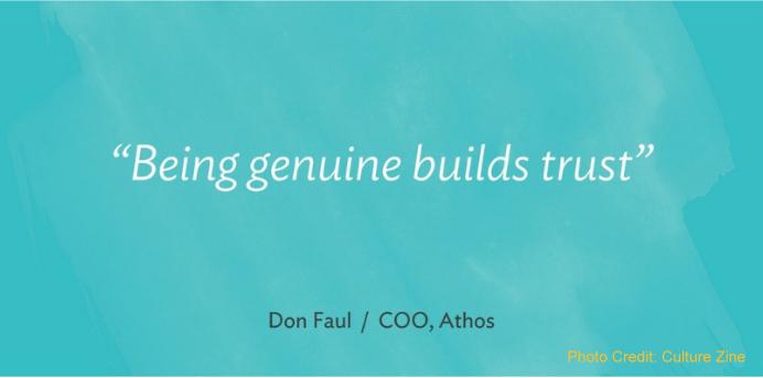 圖說:Don Faul說,「真誠建立信任」(擷取自 Culture Zine )