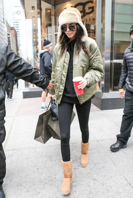 Kendall Jenner rocking the 'long and lean' Ugg boot look.