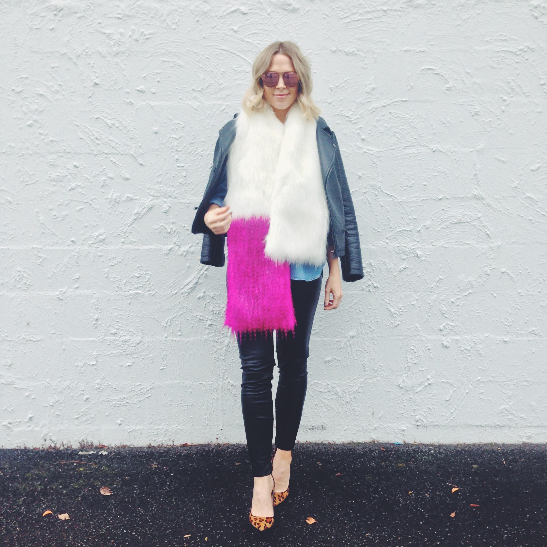 Jacket: Zara; Shirt: Cotton On; Scarf: Ida Faux Fur; Leggings: Zara; Heels: Mimco