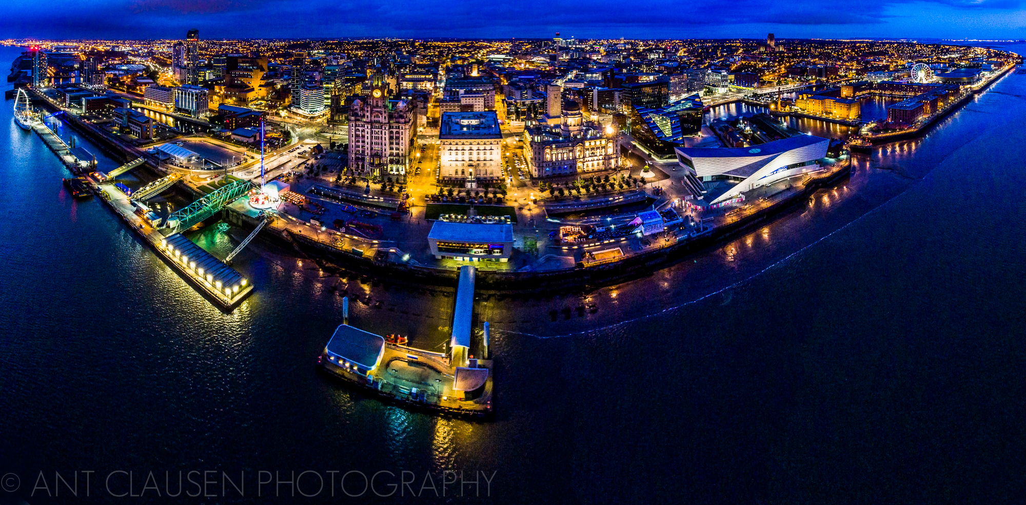 Panoramic drone photo of the liverpool skyline - aerial photography 2016