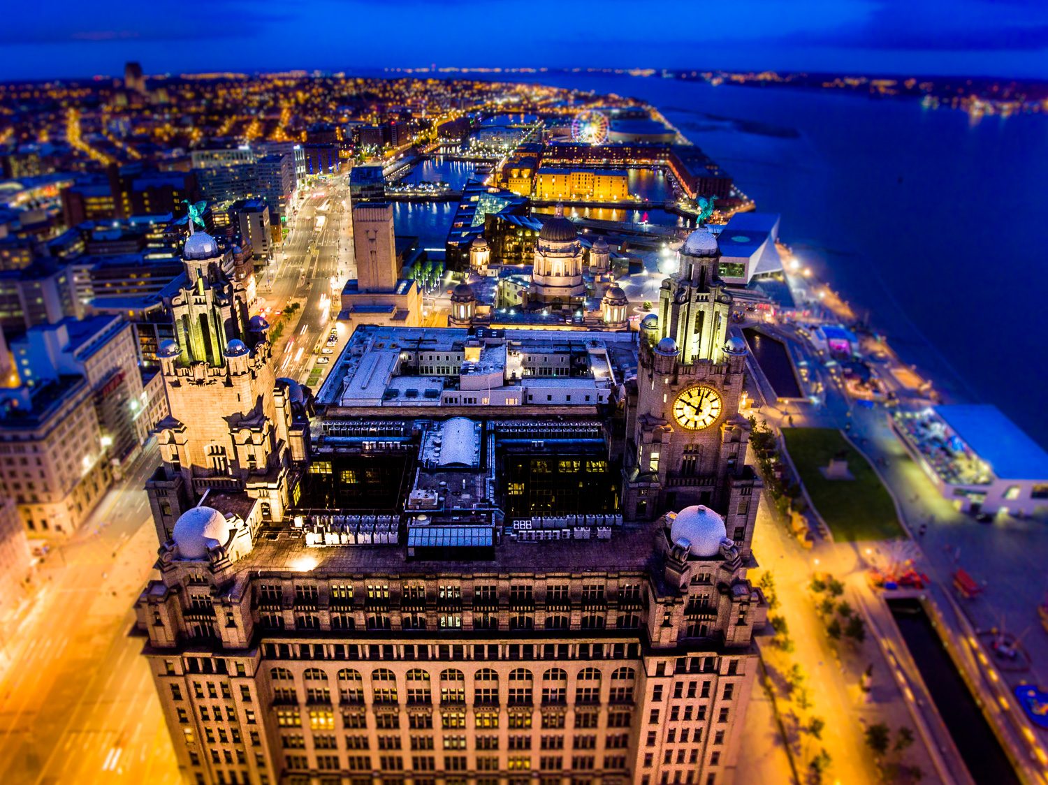drone shot of the liver building liverpool waterfront photography