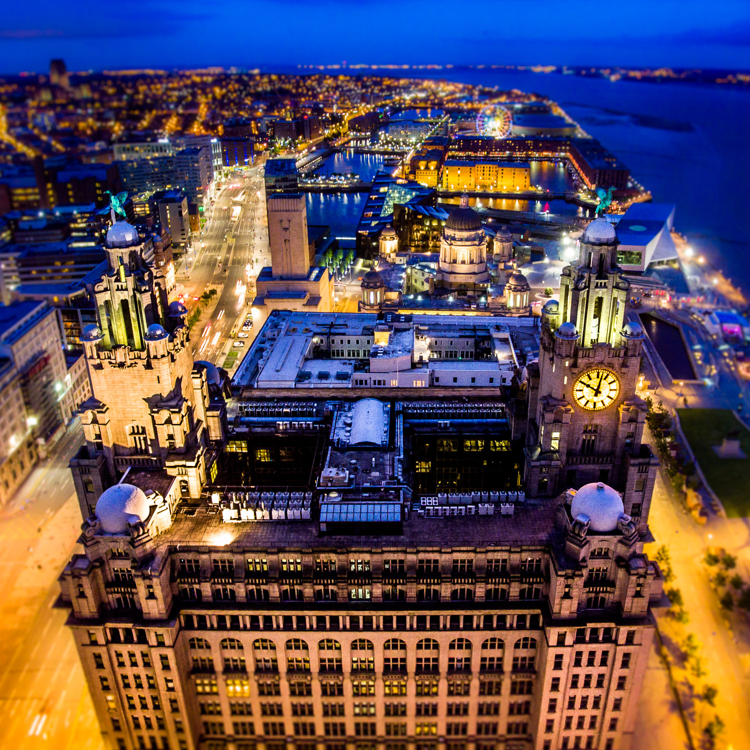 aerial drone photo of liver building liverpool waterfront