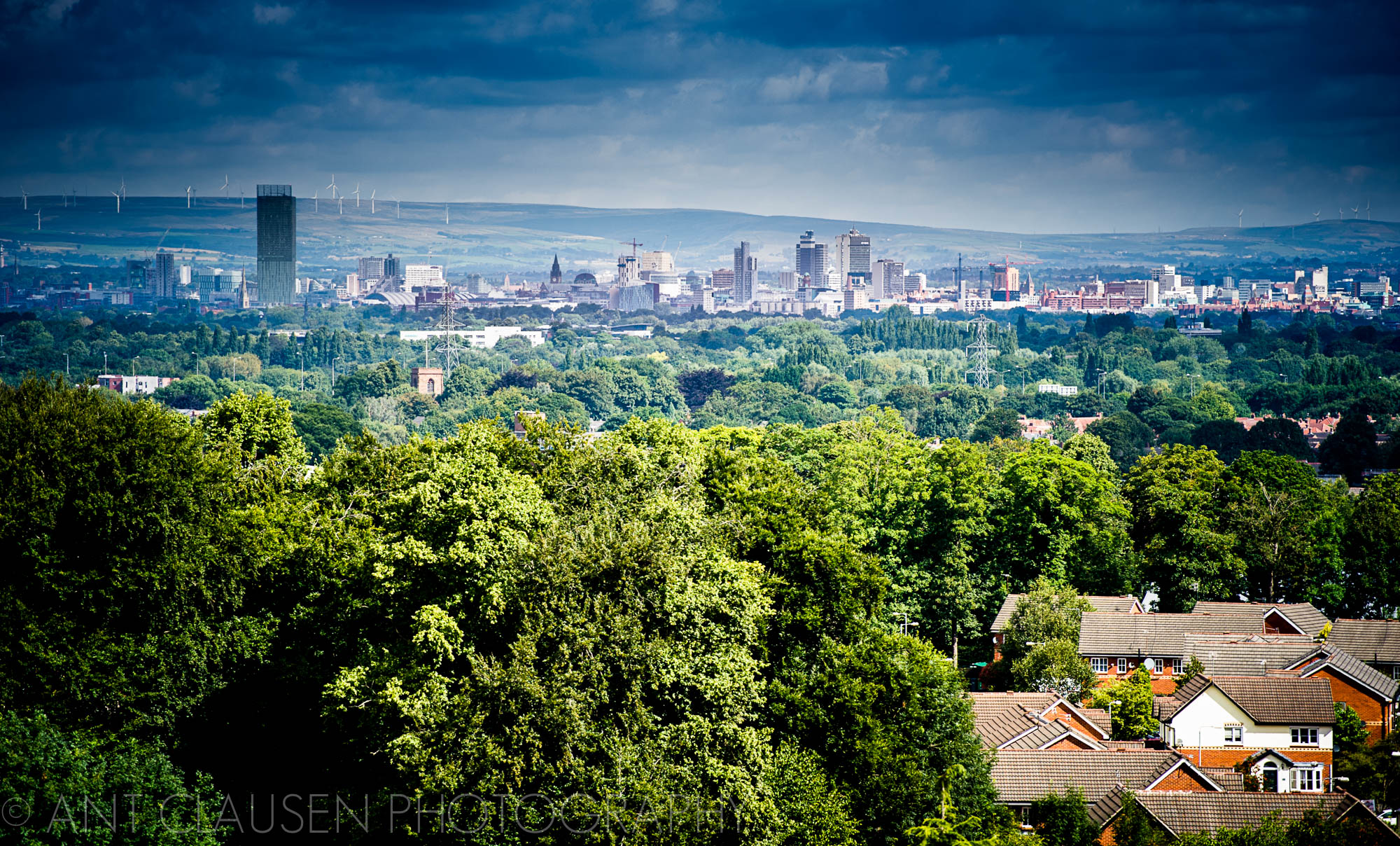 photo of Manchester skyline shot from Wythenshawe south