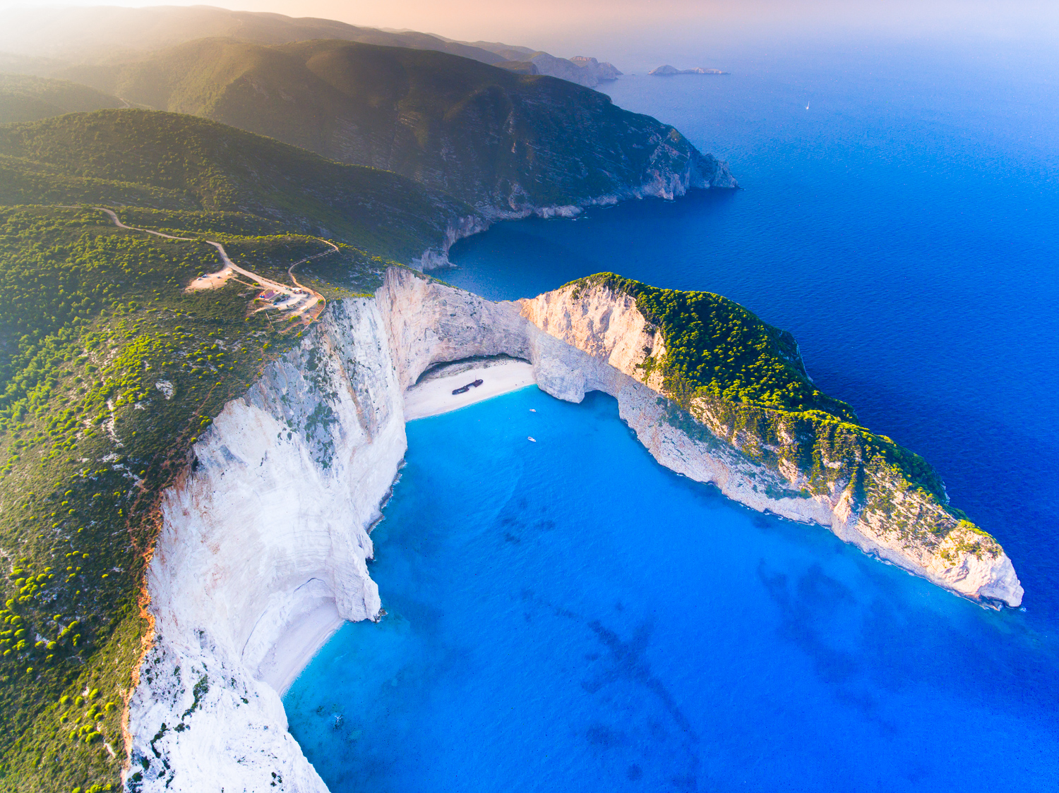 aerial drone photo taken on a trip from Liverpool to Zakynthos
