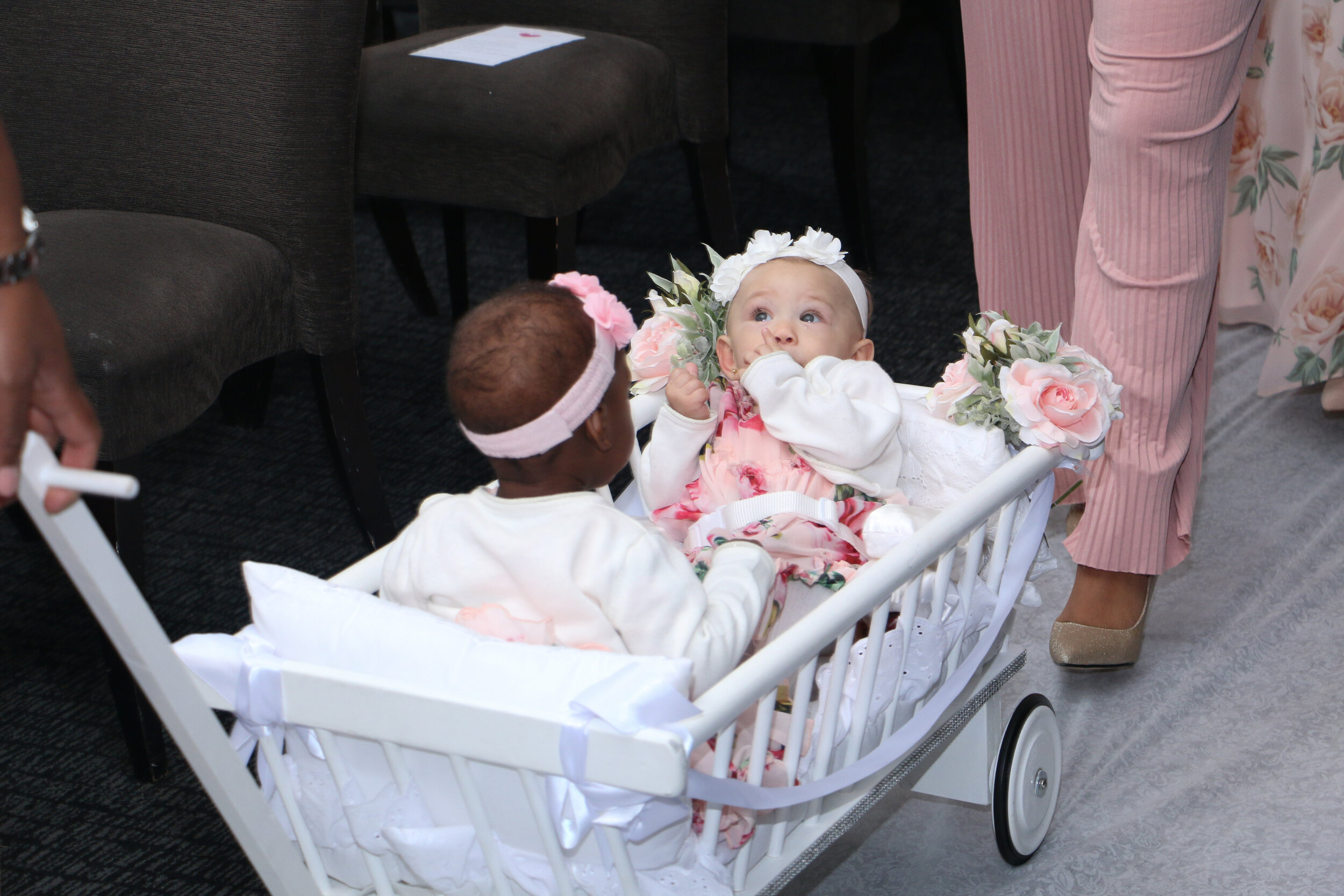 Double Baby - £175 - The same customisations as a Single Baby Wedding Carriage but with the added seating support to accommodate another baby or toddler!Click here to see our full customisation option for Flowers, Ribbon and Sign. And you can always contact us to see if we can match a specific colour for the flowers and ribbon.We also offer the option of having a customised sign made which you can then keep - costing just £20!Book your Double Baby Wedding Carriage!