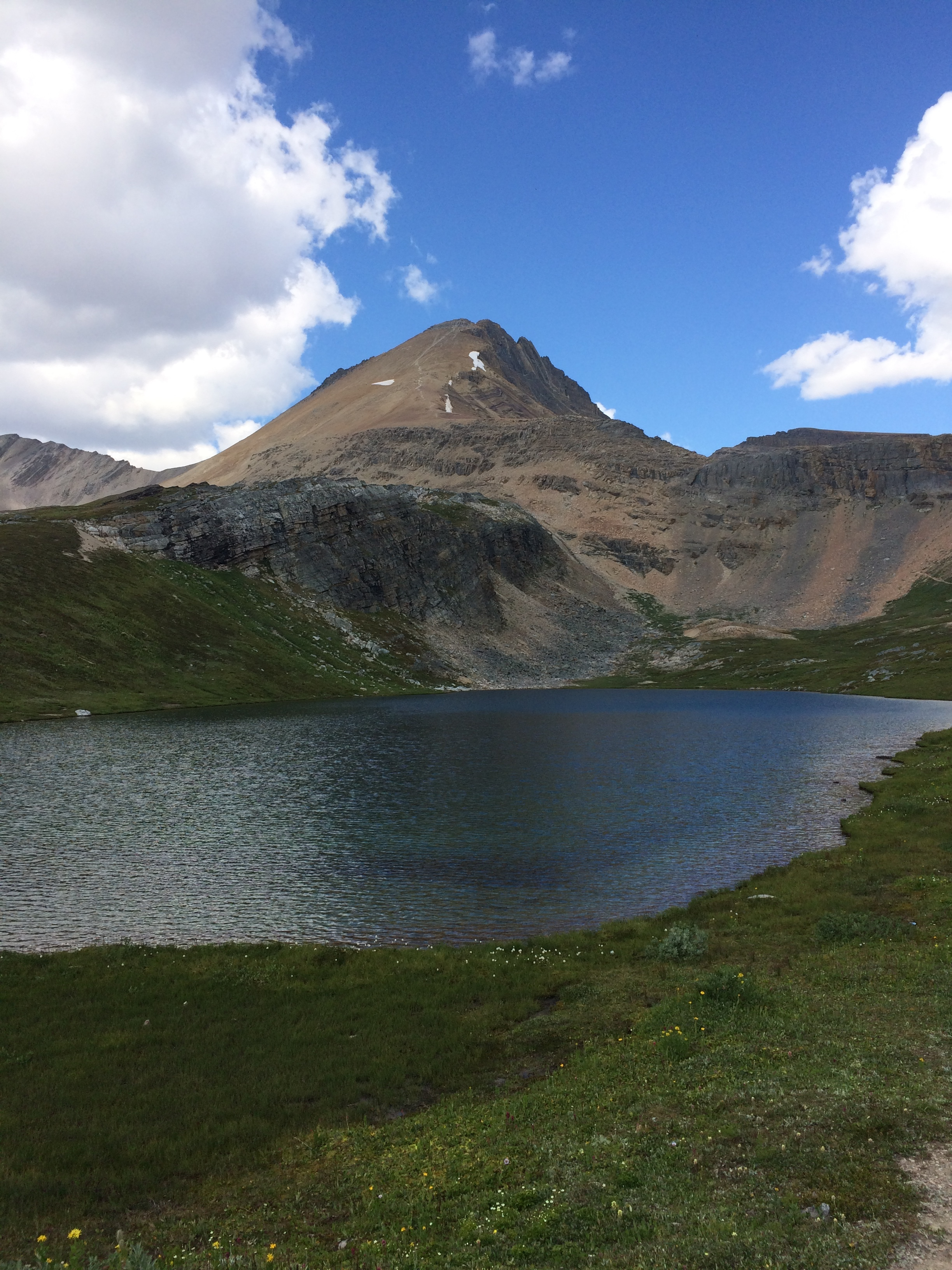 Helen Lake with the summit of Cirque Peak in the distance.