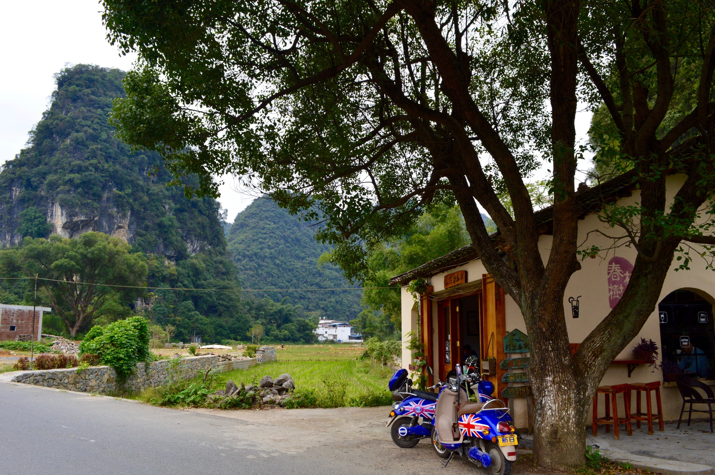 New favorite coffee shop—in between a mountain and a farm in Yangshuo County.