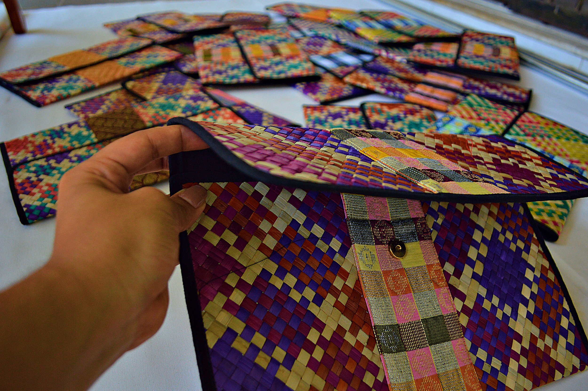 Beautiful, woven document cases by Earth Heir. My hand also makes its debut!
