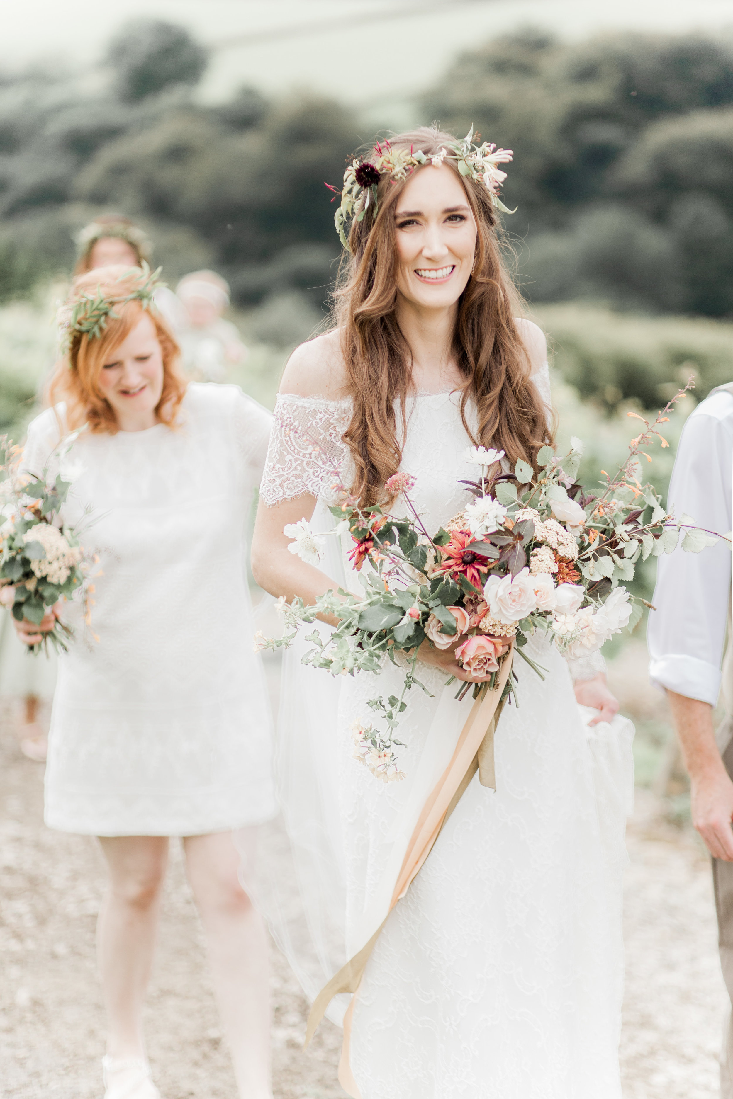 Bridal bouquet and flower crown