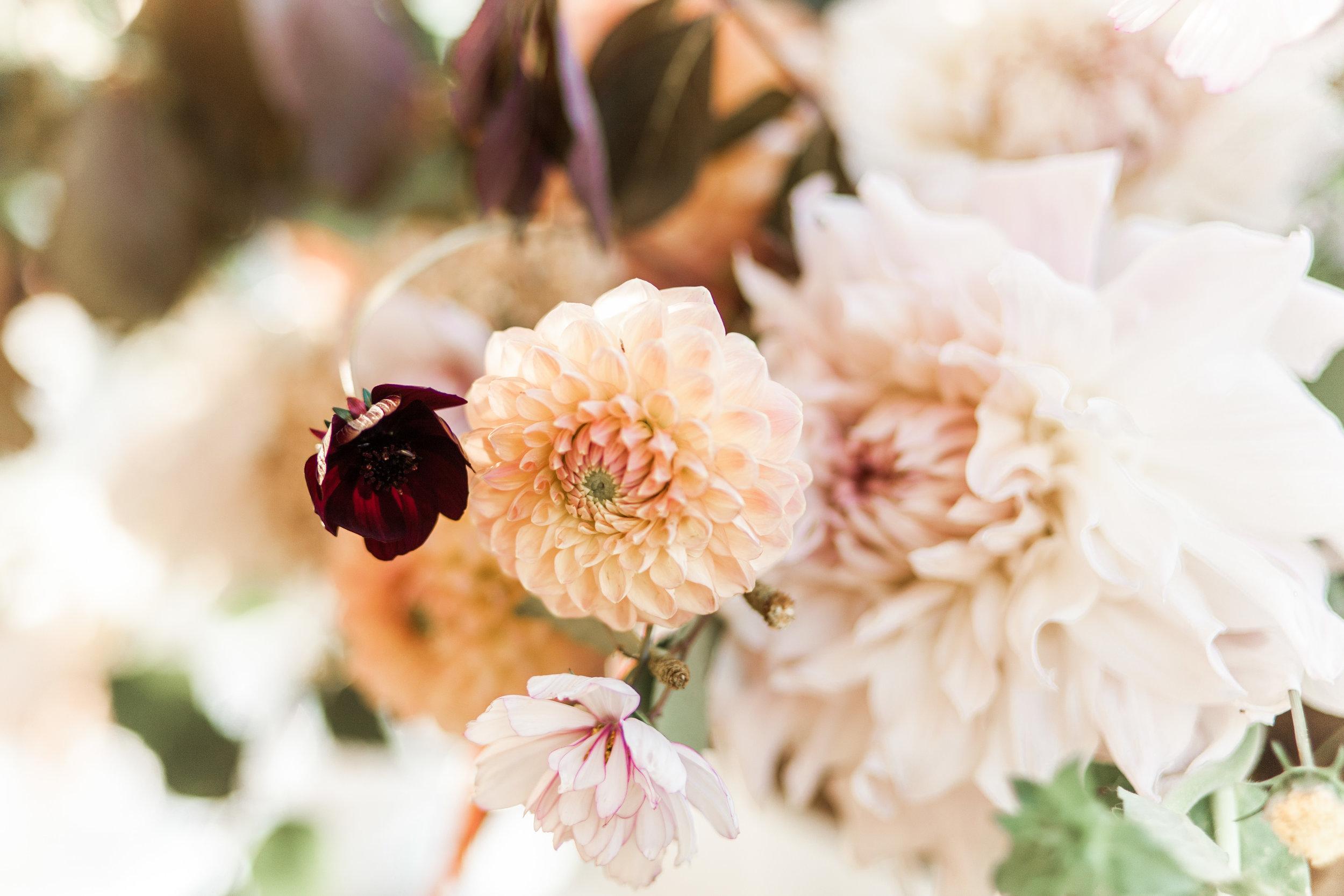 dahlia and chocolate cosmos wedding flowers