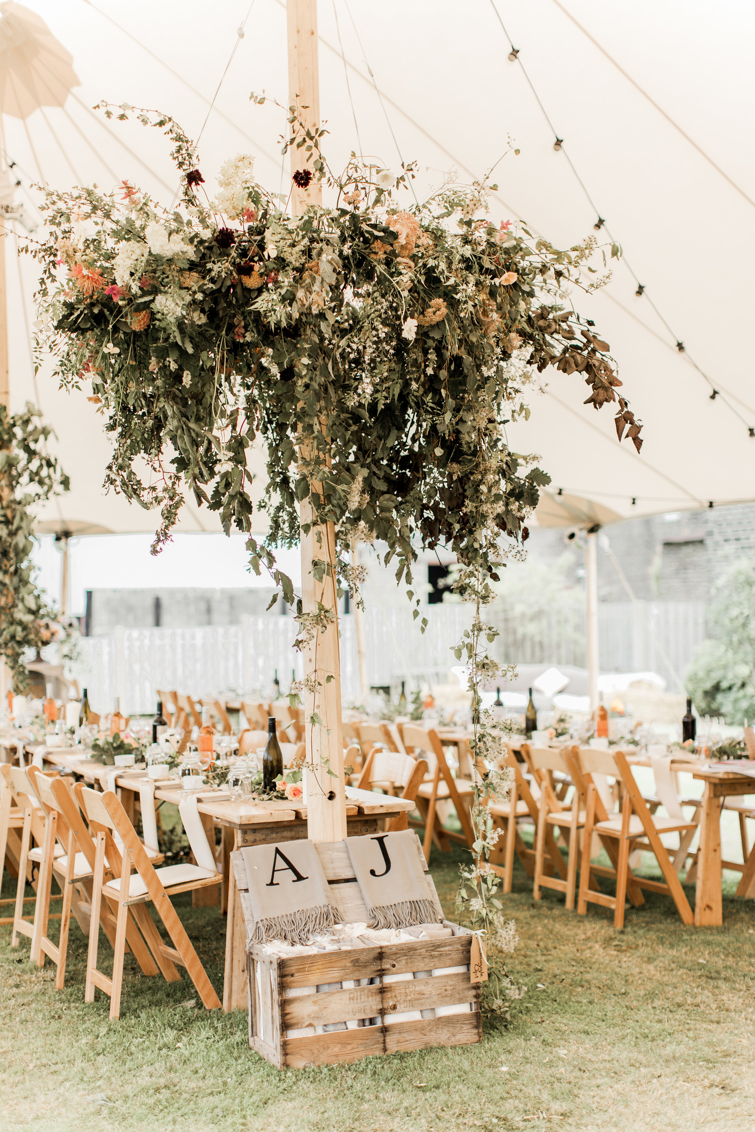 floral chandelier in marquee