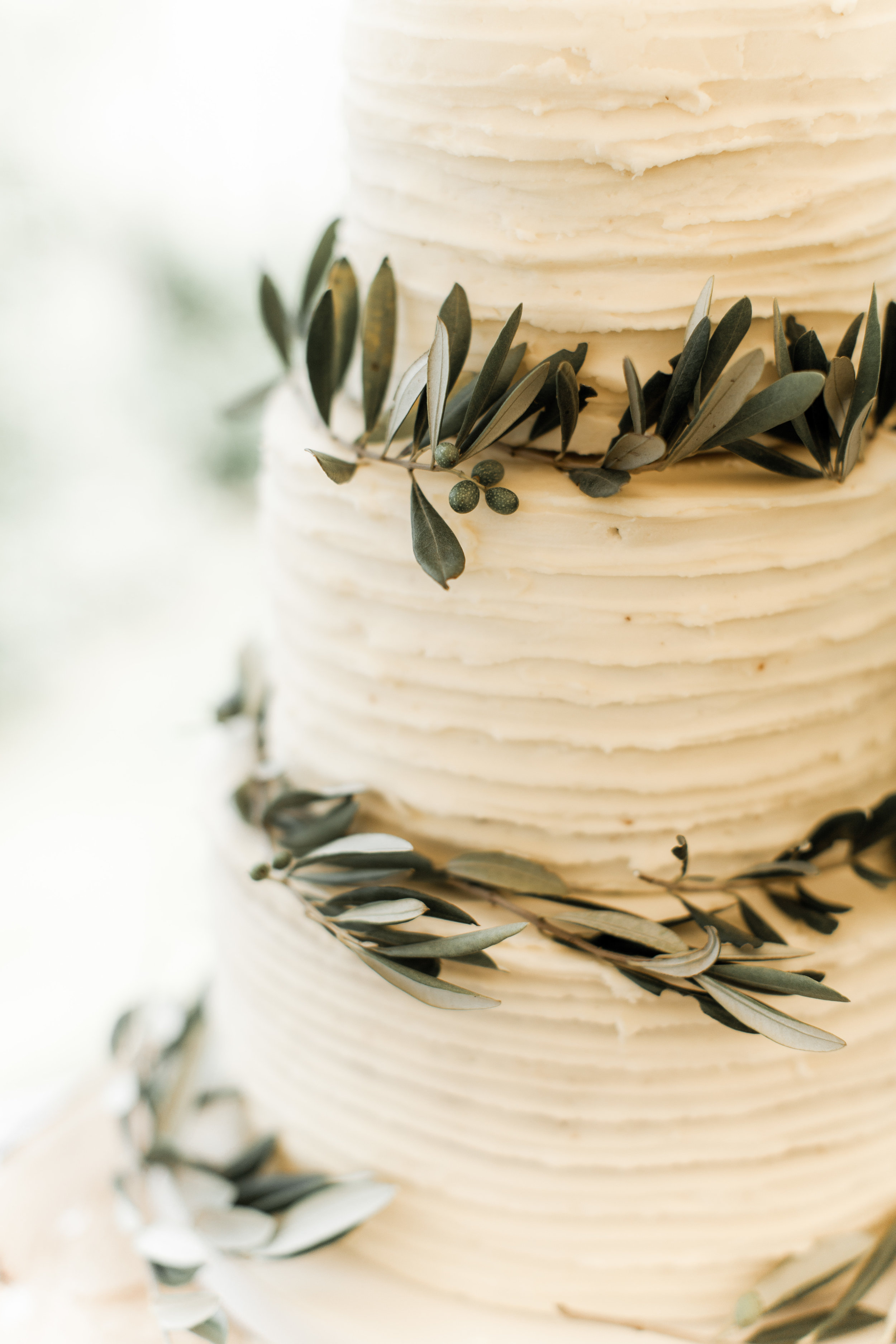 wedding cake dressed with olive leaves