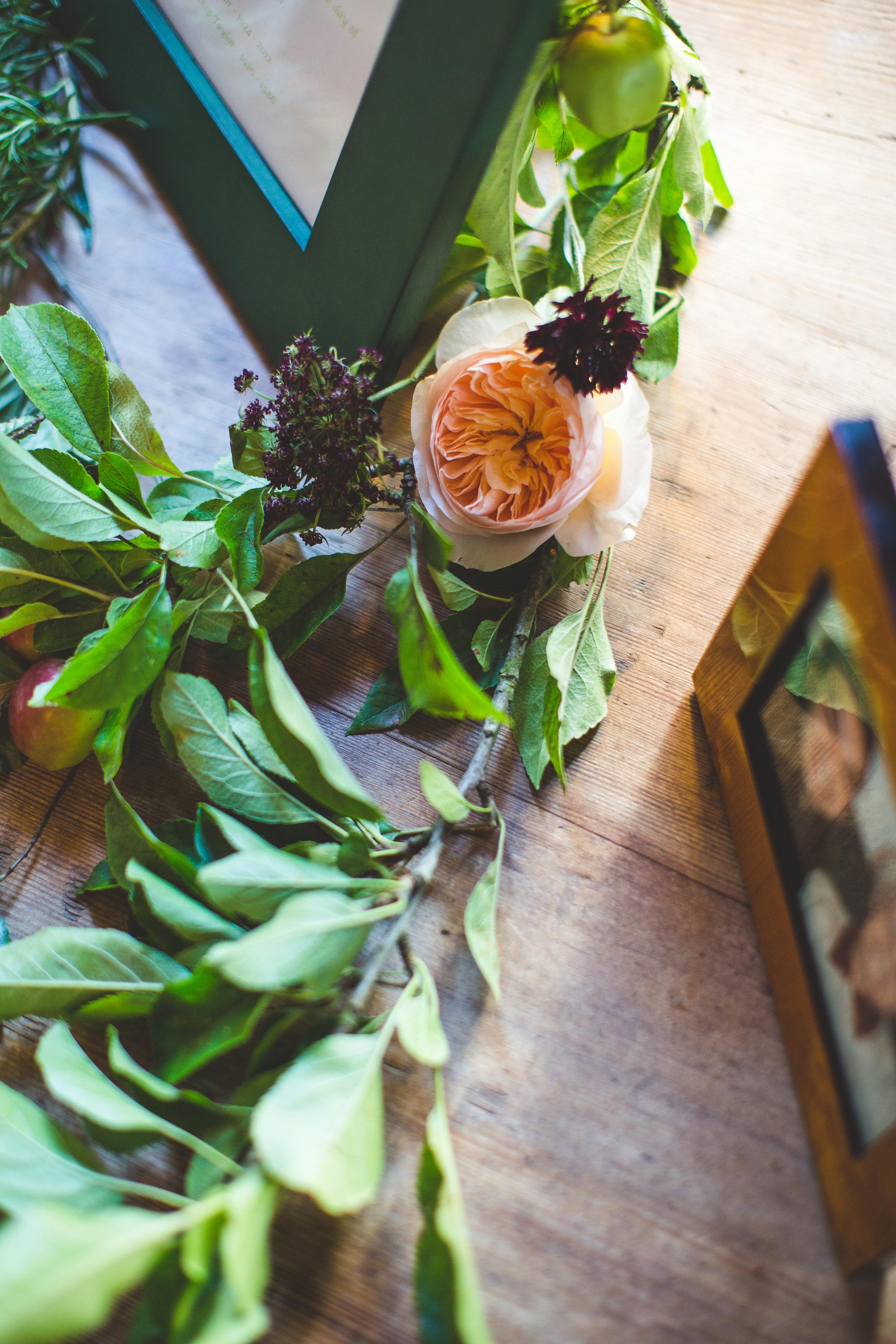 flowers around the photo frames