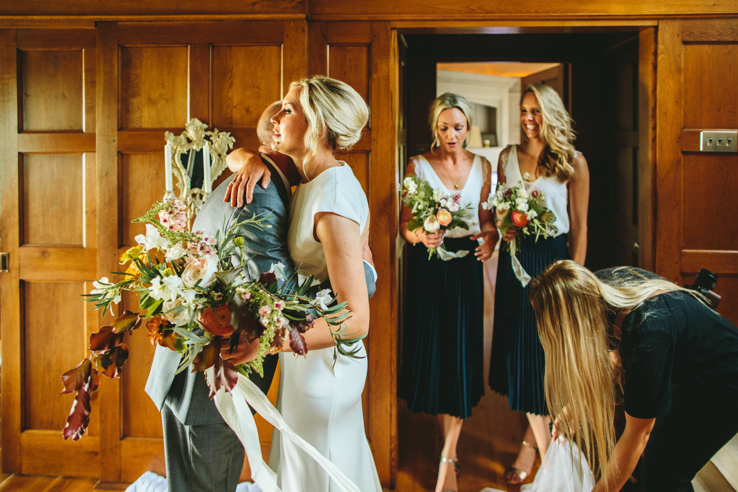 Bride and bridesmaids at home