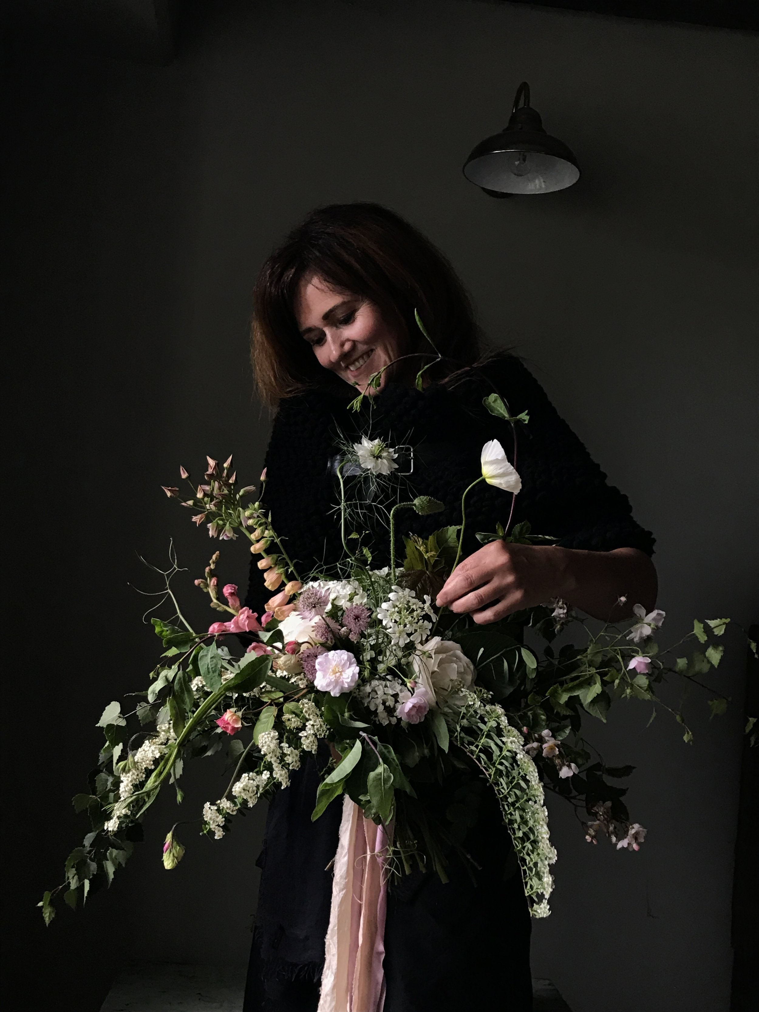 Julie - student and her bouquet