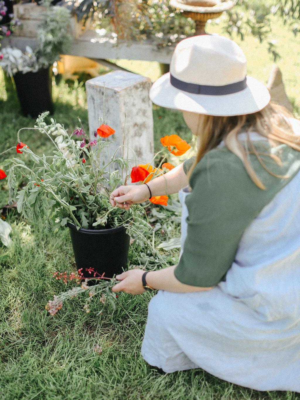 student choosing her flowers