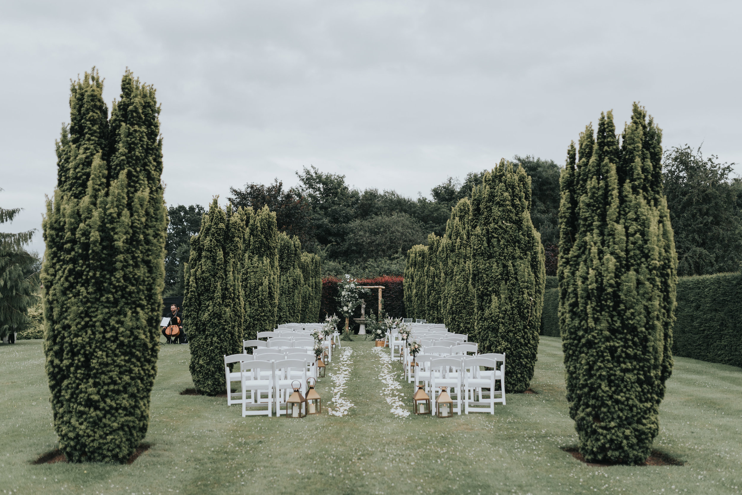 Cheshire wedding florals - outside ceremony