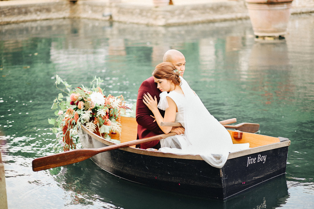 flowers on a boat