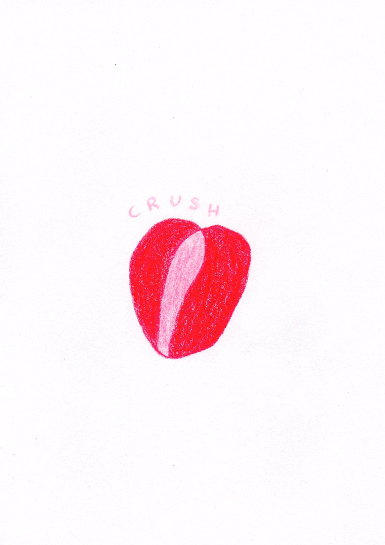 Artwork: Crush by Cassandra Martin. Colour pencil on paper.