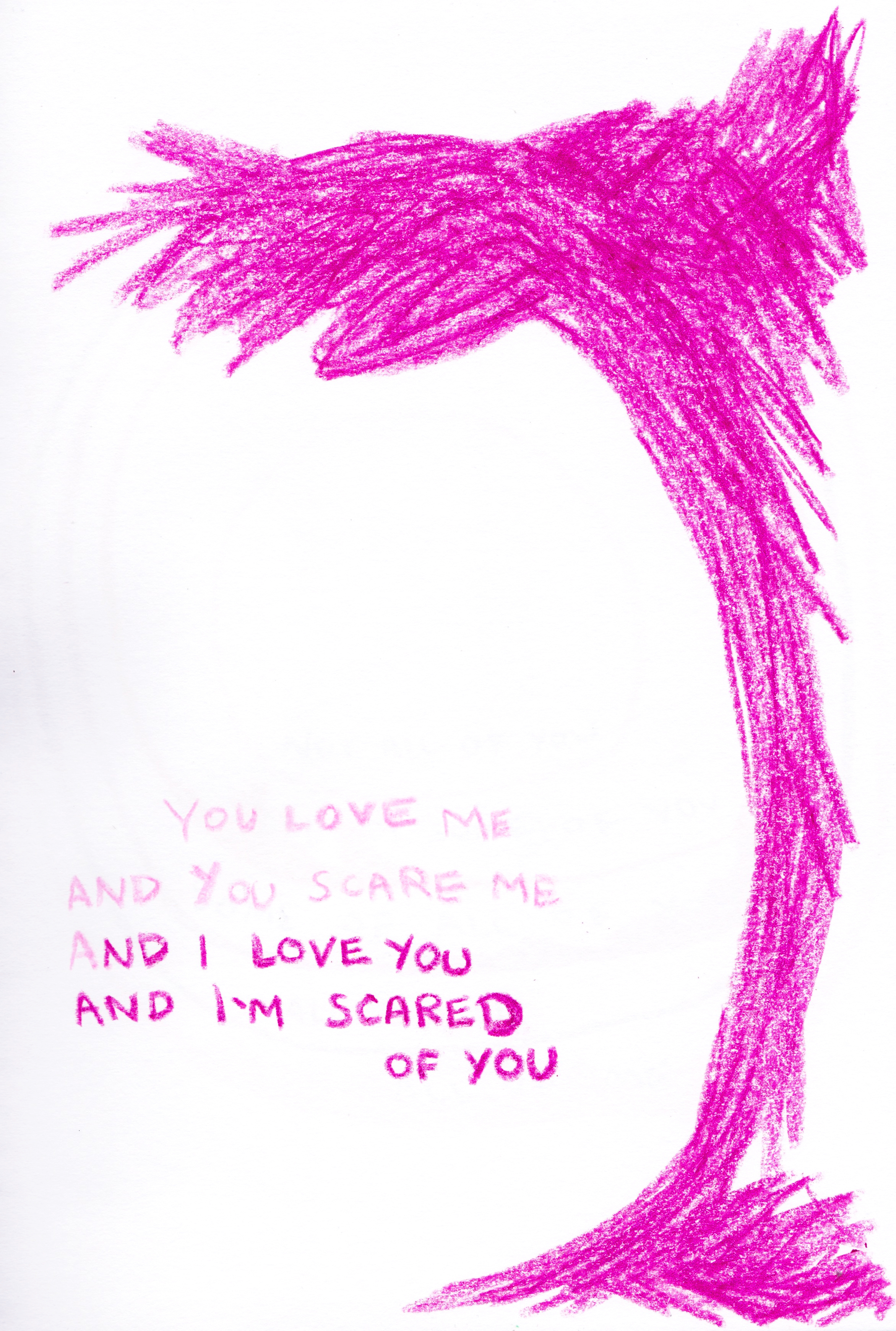 Love Scare. Crayon drawing on paper.