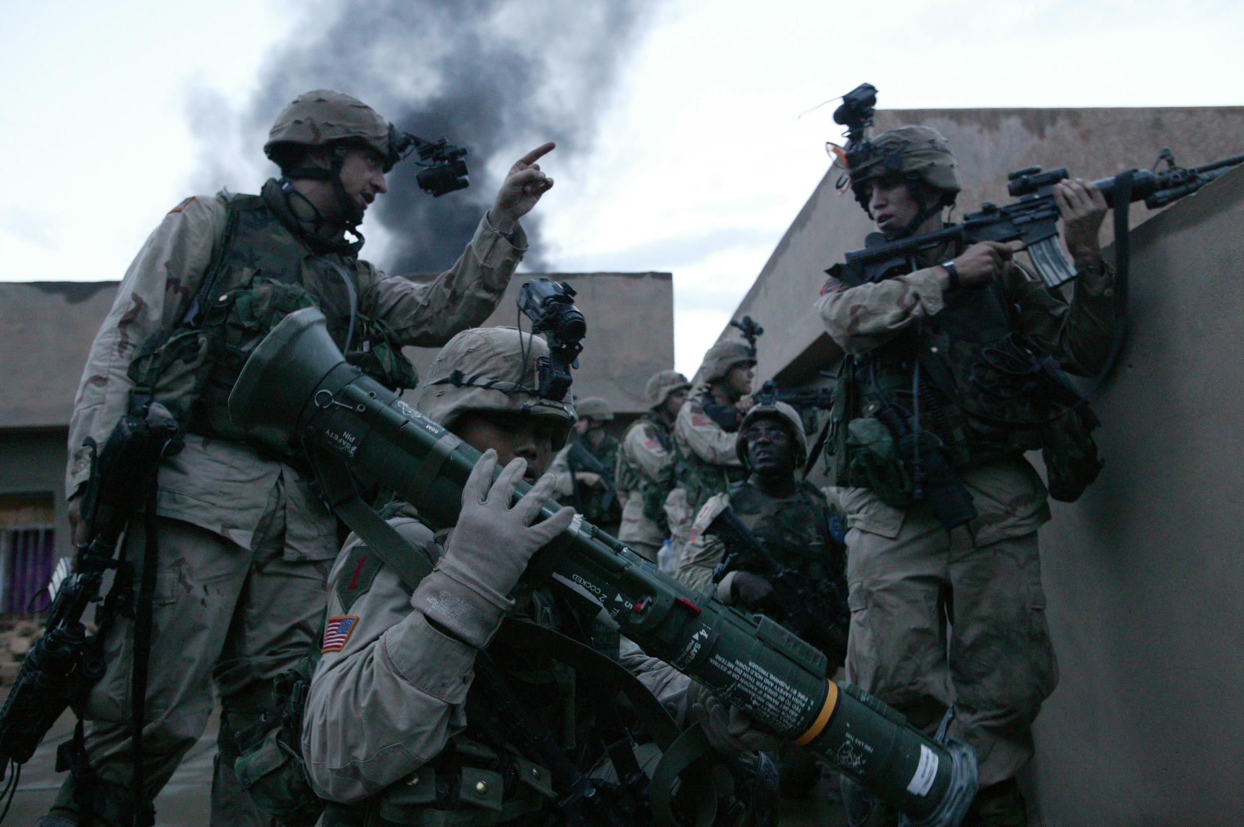 Only The Dead 14 - Credit Yuri Kosyrev _ Noor Images_U.S. Troops on a rooftop in Fallujah.jpg