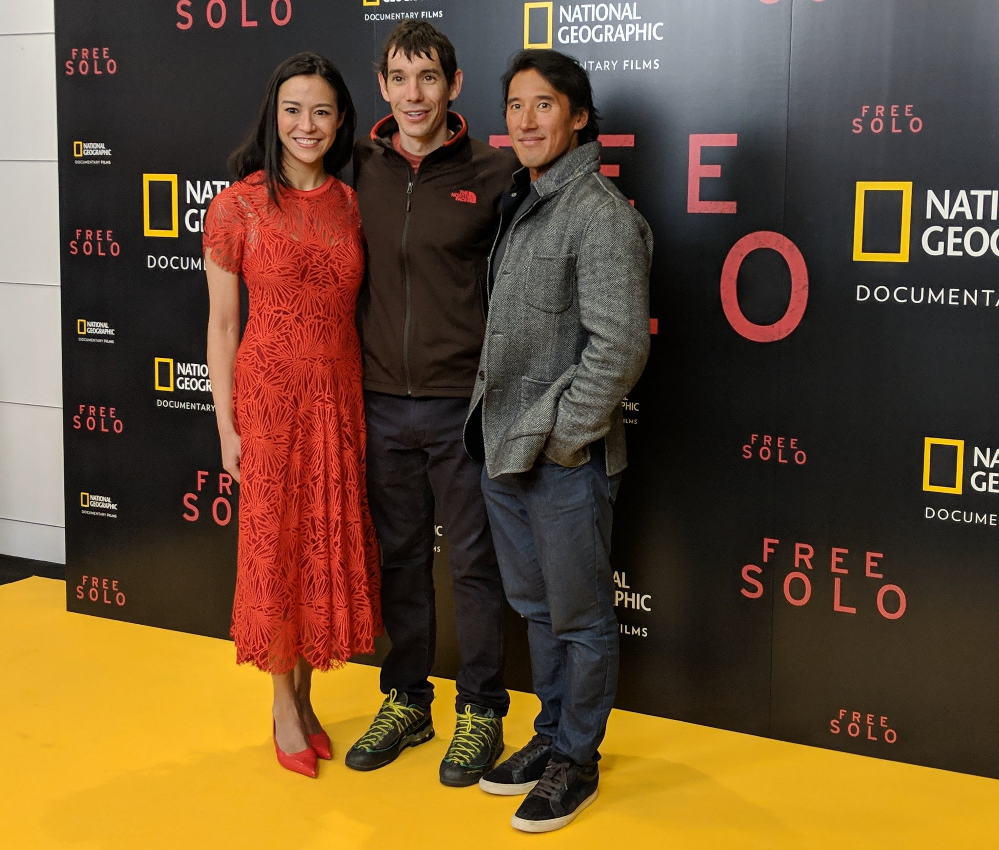 Climber Alex Honnold with filmmakers Chai Vasarhelyi and Jimmy Chin.