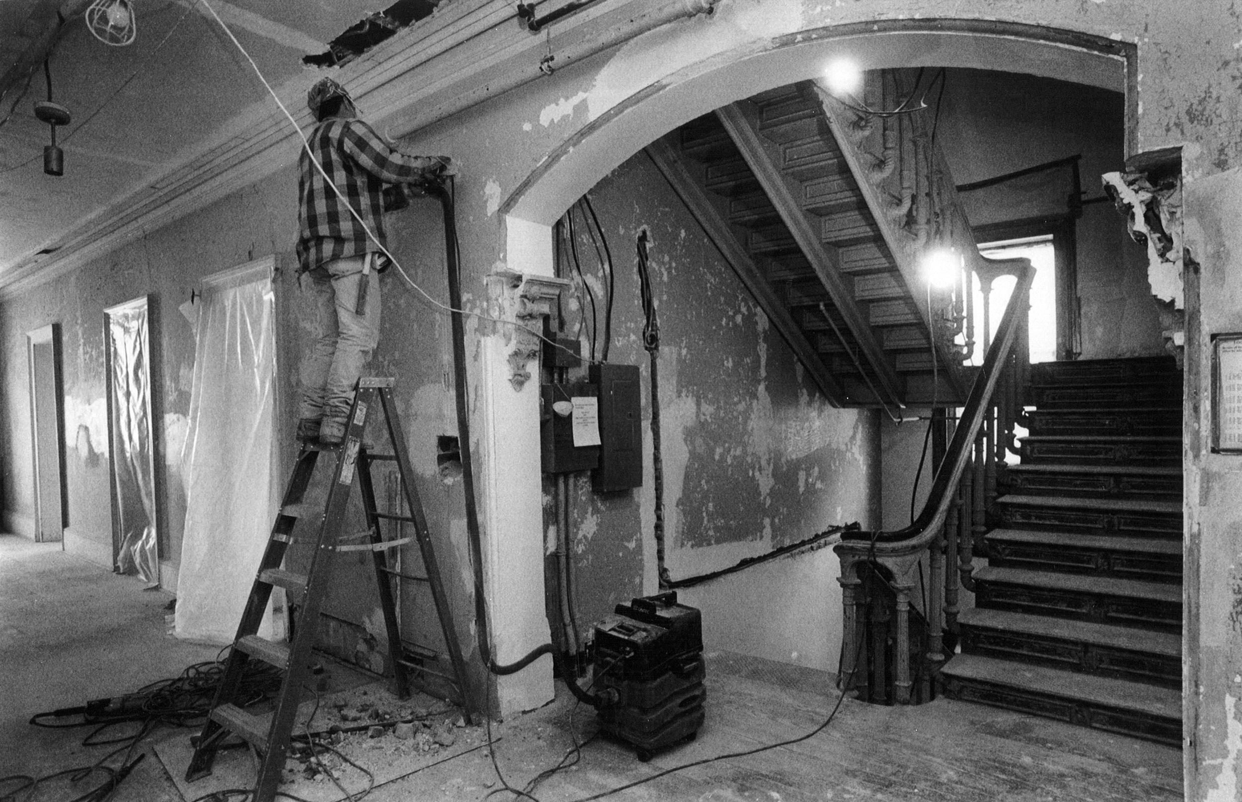 The second floor corridor during renovation