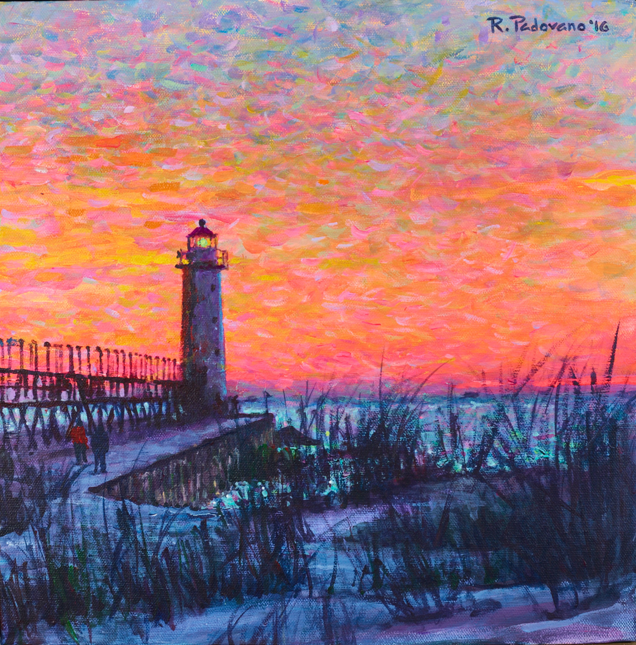 """38. Robert Padovano, """"Coral Dusk, Manistee Lighthouse"""""""