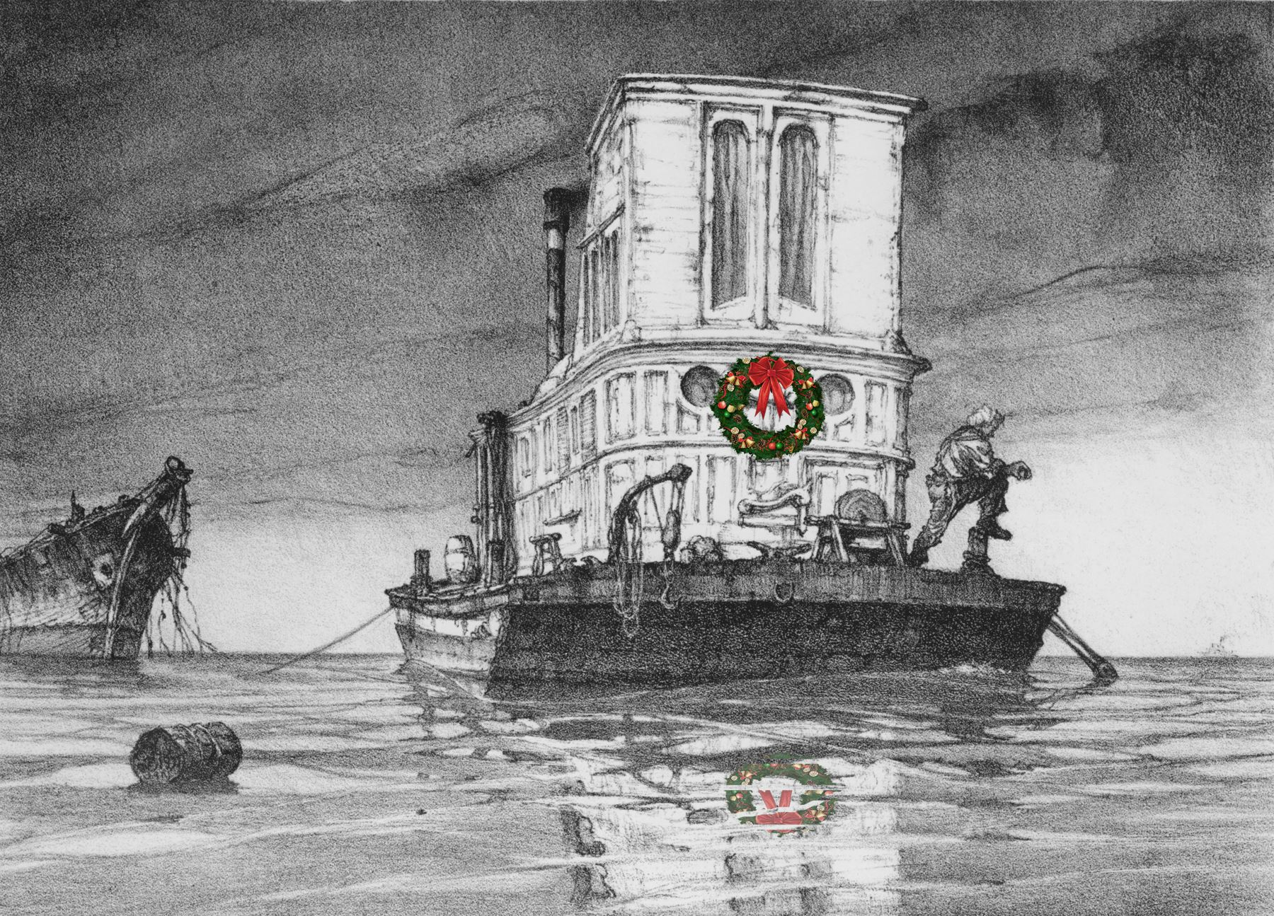 Noble Houseboat with wreath - courtesy of the Noble Maritime Collection.jpg