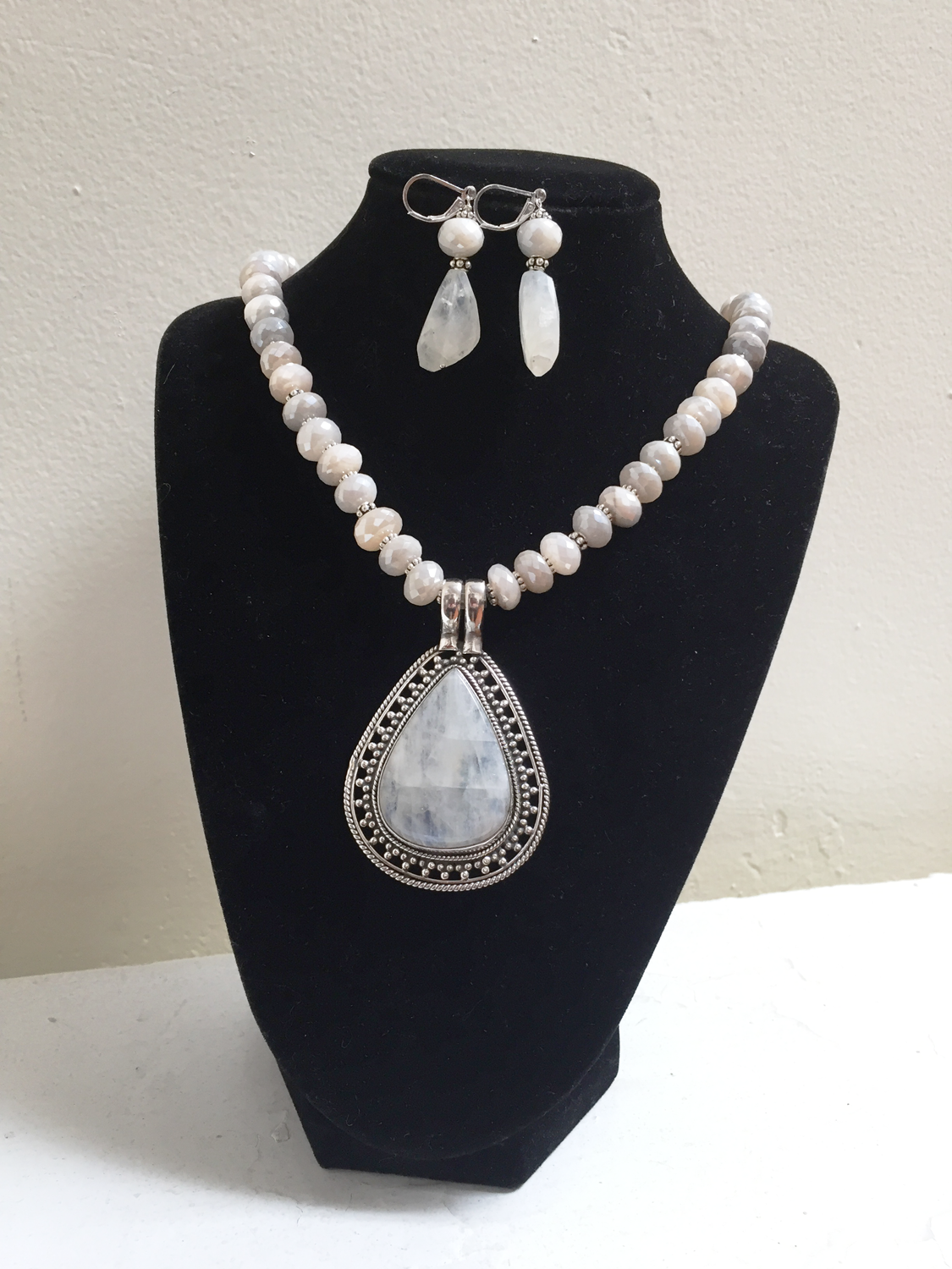 """29. Leslie A. Petosa, DDS, """"Moonstone necklace and earrings"""""""