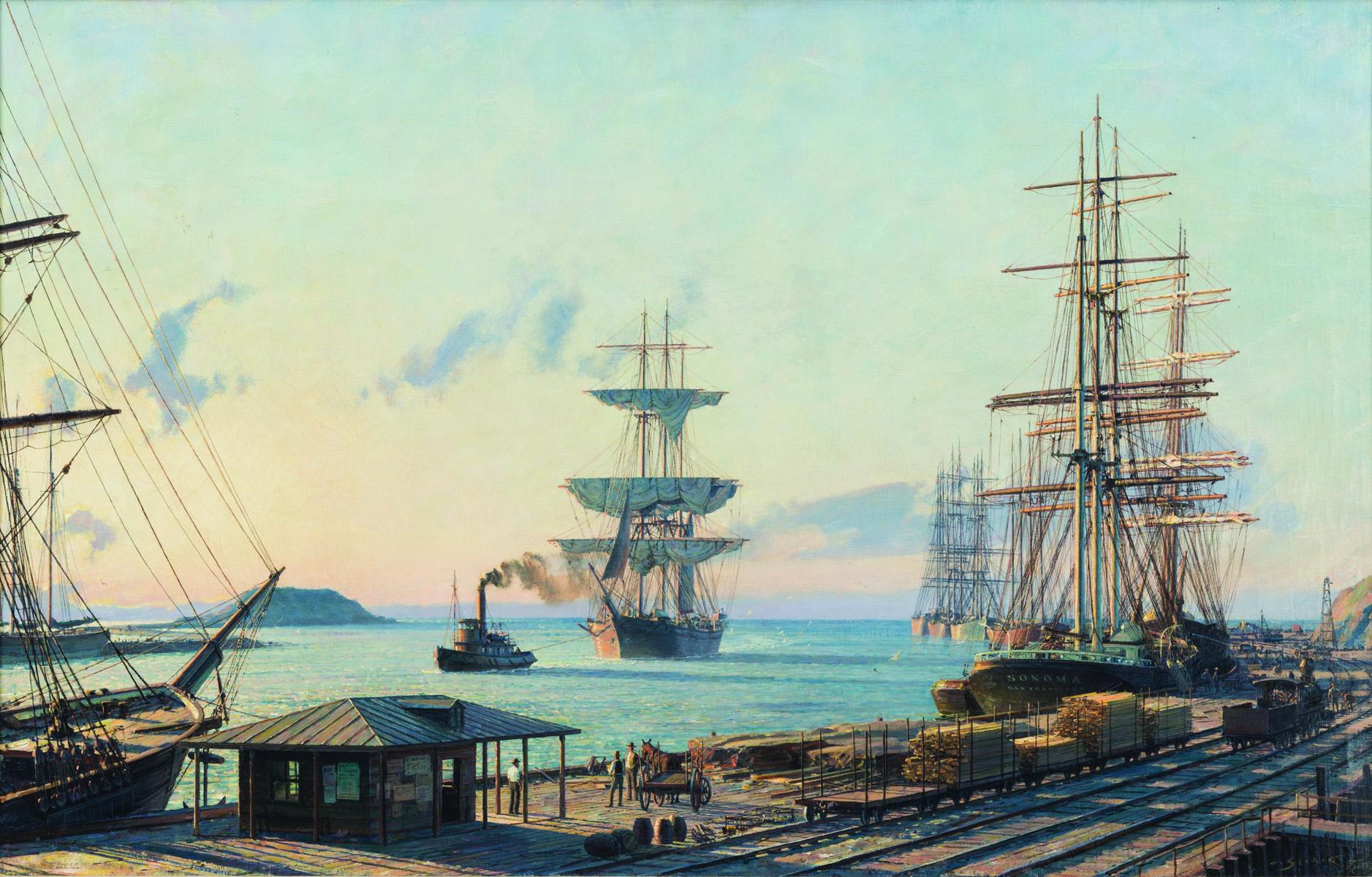 John Stobart,  San Pedro:  The Bark  Vidette  Towing into Port at Sunrise in 1890 , oil on canvas, 1983;  courtesy of Kensington Galleries.