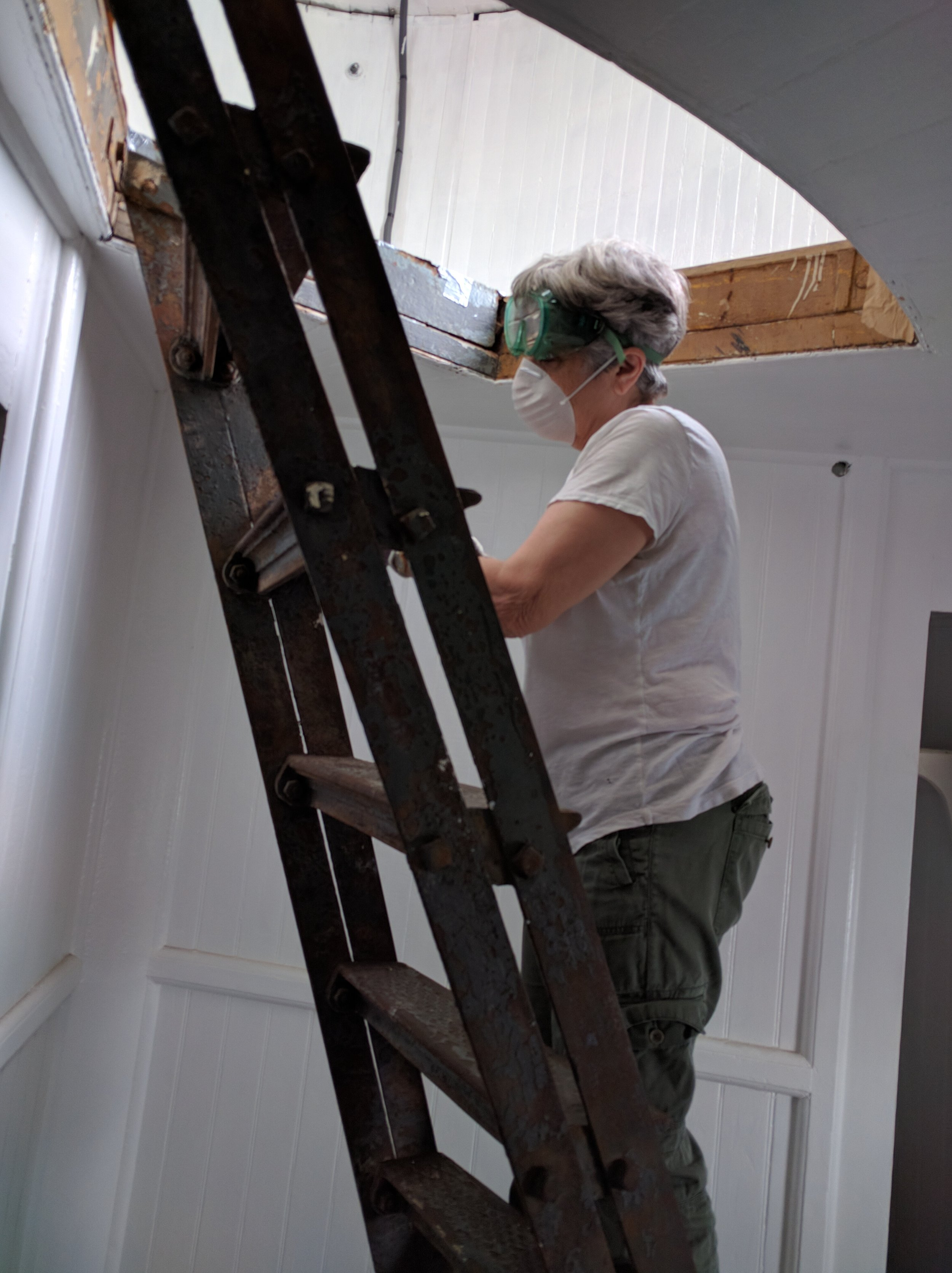 Annie working on the ladder.