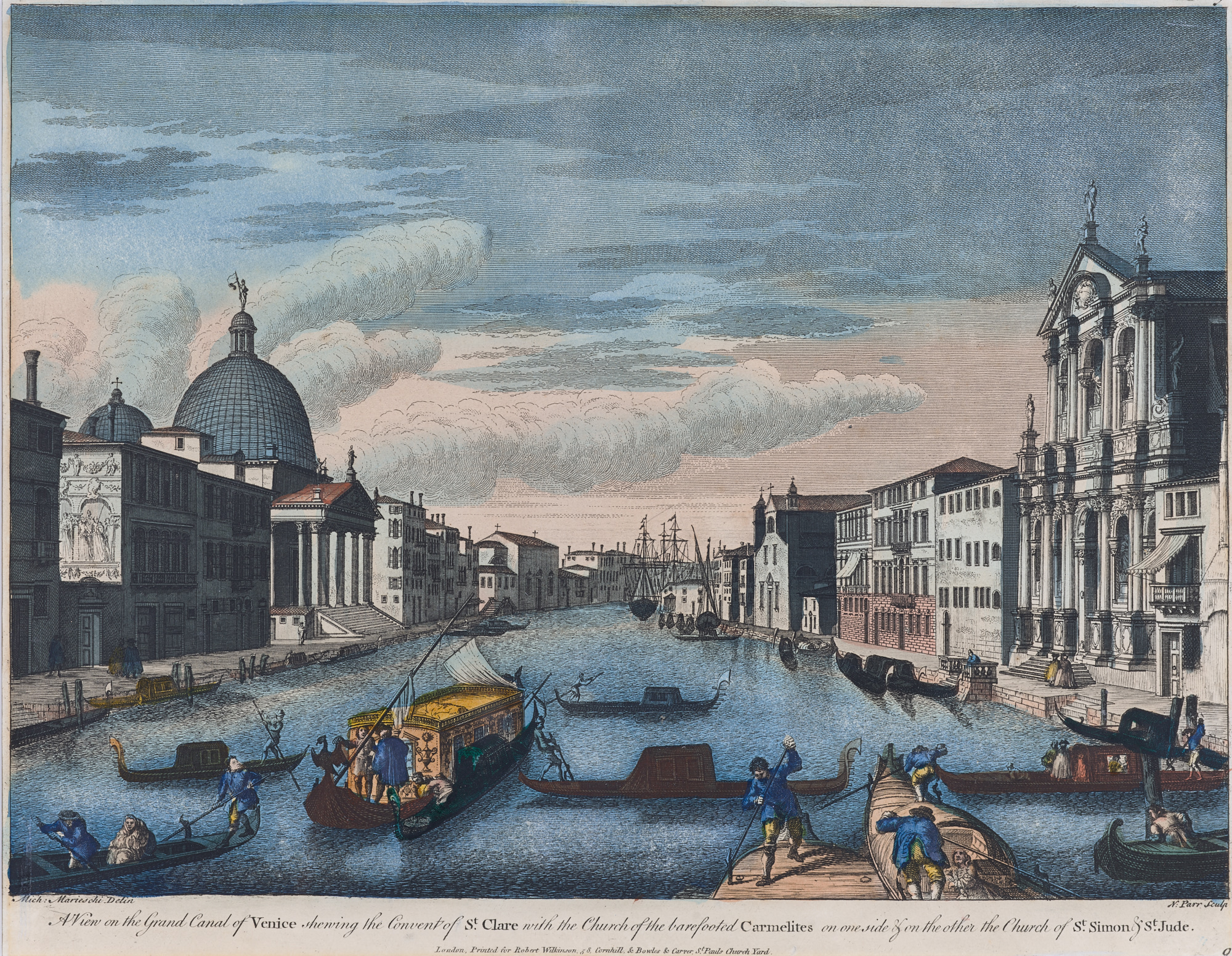Richard Parr (1707-1754) after Michele Marieschi (1710-1743),  A View on the Grand Canal of Venice , Hand-colored engraving, c. 1750,  Gift of Barnett Shepherd