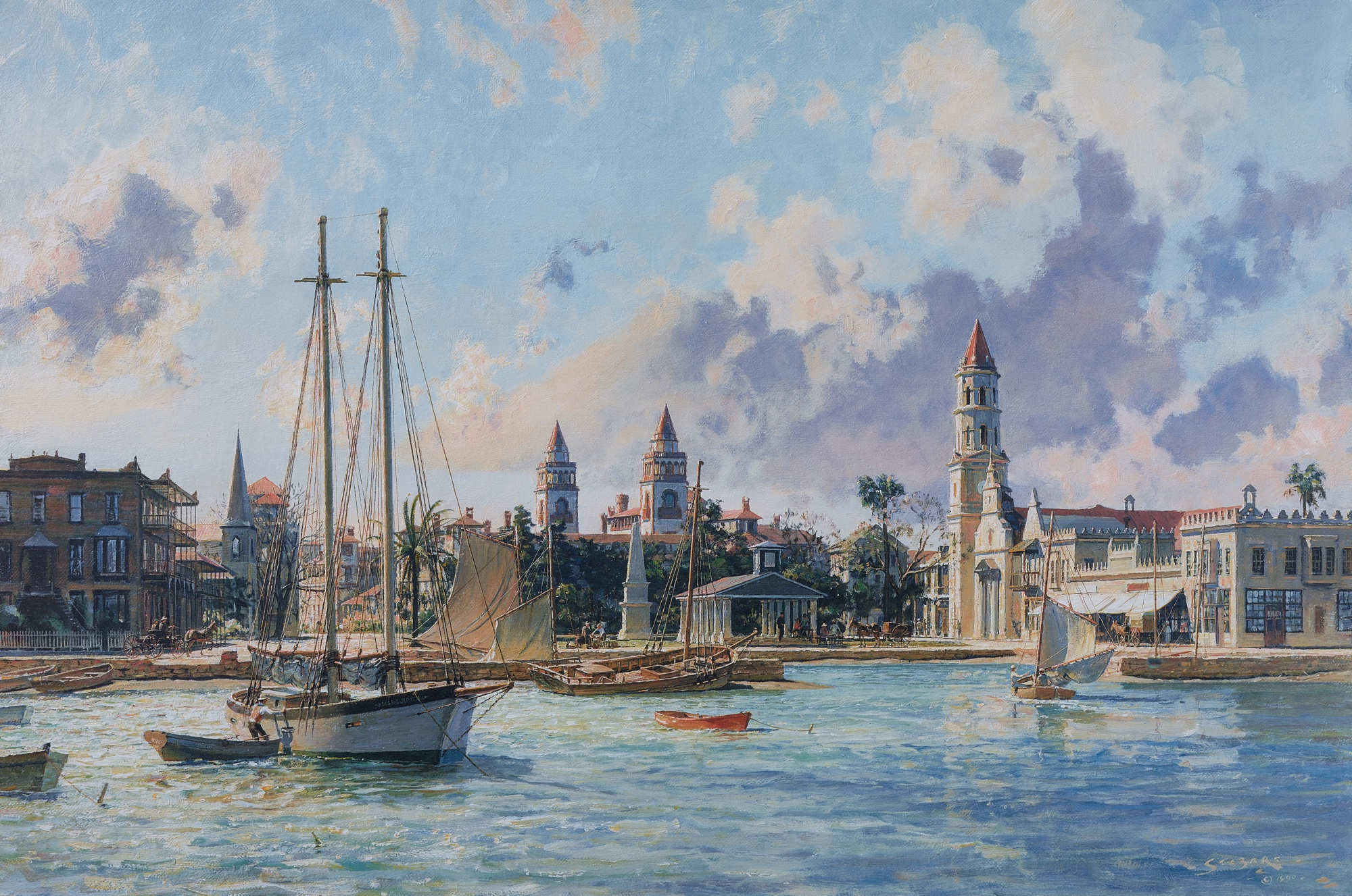 44. John Stobart, St. Augustine: A View of the Plaza in 1890