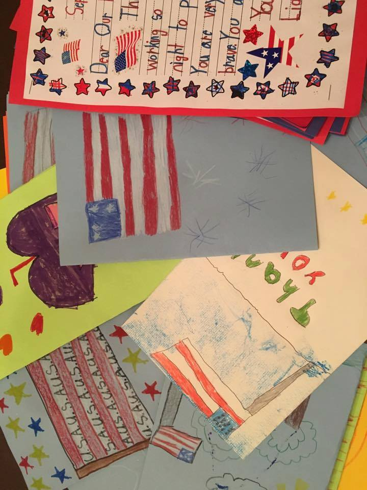Writing Thank You cards to servicemen and women.