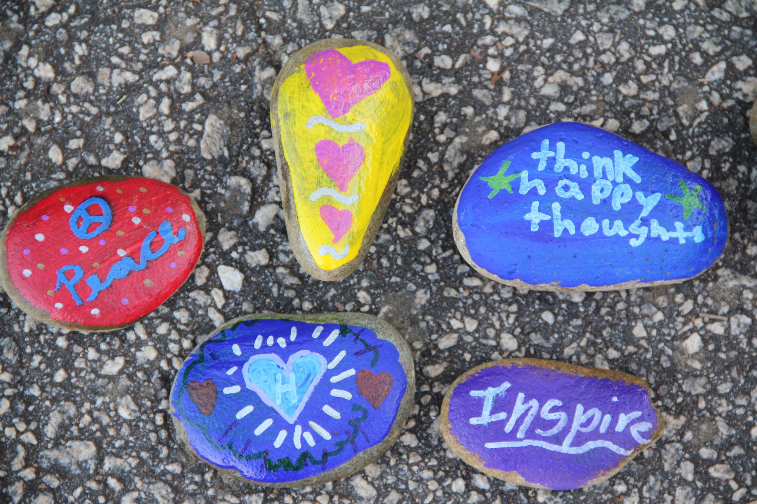 Decorating rocks for the  Kindness Rocks Project !