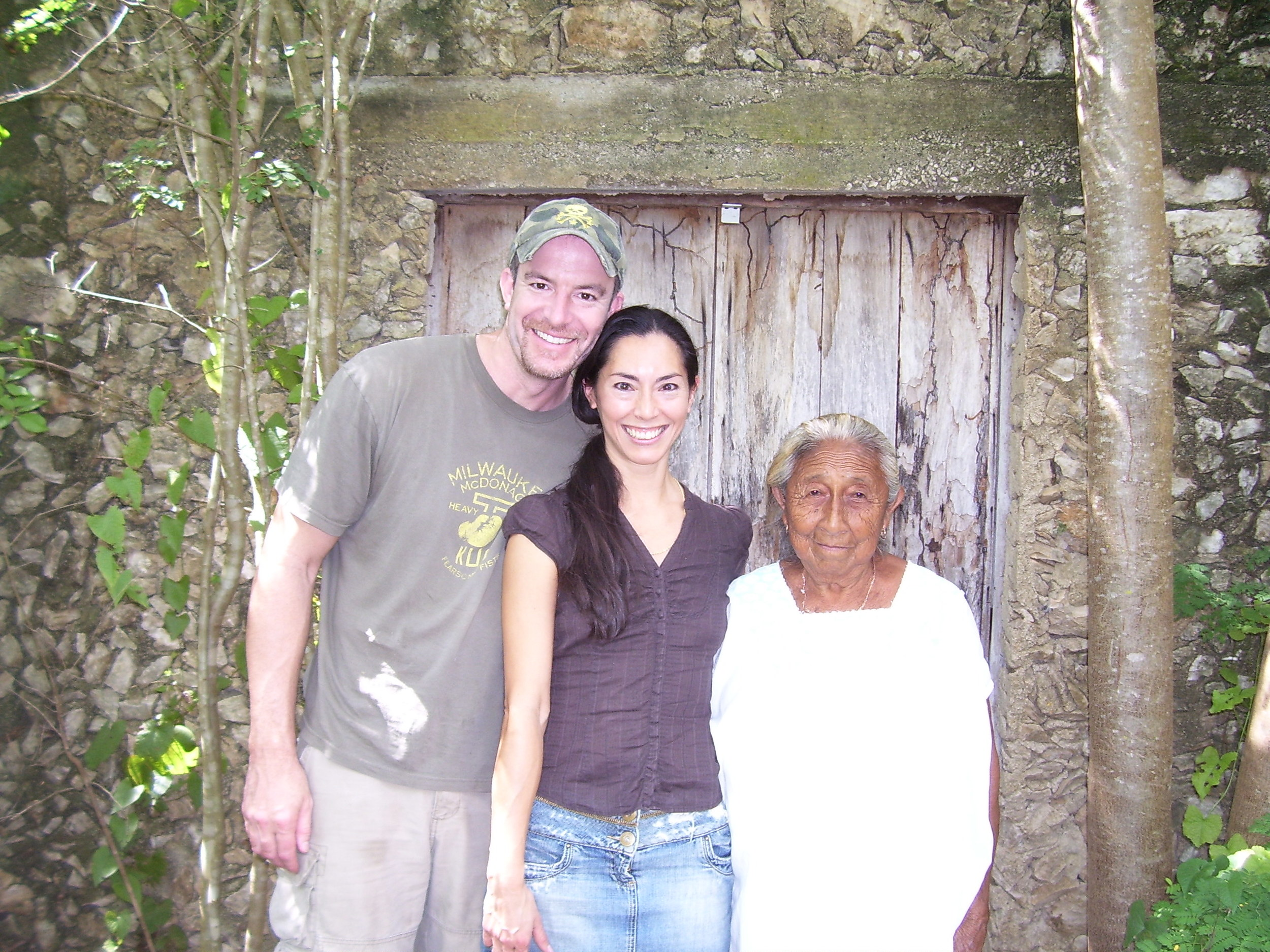 Chris and Mucuy with Mam Goya in Mucuy's birthplace,Komcheen Yucatan Mexico