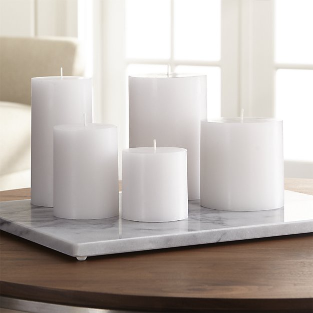 White pillar candles - I love scented candles but sometimes I just like the ambience without the smell. Plus you don't have to feel bad about using these up quickly. These were found at  Crate & Barrel , but you can get them pretty much anywhere!