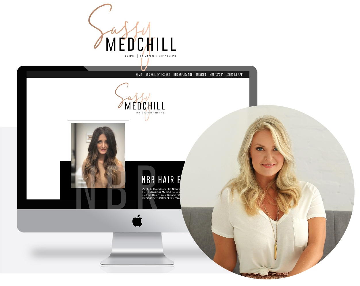 """I was BEYOND excited to reveal my new branding & website designed by the ever so talented, Walcot Studio. Deidre was able to capture my journey, rebrand my whole business and set up the beautiful website without me having to lift a finger....seriously the easiest process y'all! It's super easy to navigate, to see before & after pictures, read FAQs and most importantly, drive clients to immediately apply right on the site to become a part of the NBR family! The strategy Deidre put behind the website makes it 100x easier to manage new clients, accept deposits and track where people are finding me! Thank you Walcot Studio for bringing my vision to life!""  - Sassy Medchill, NBR Hair Stylist"