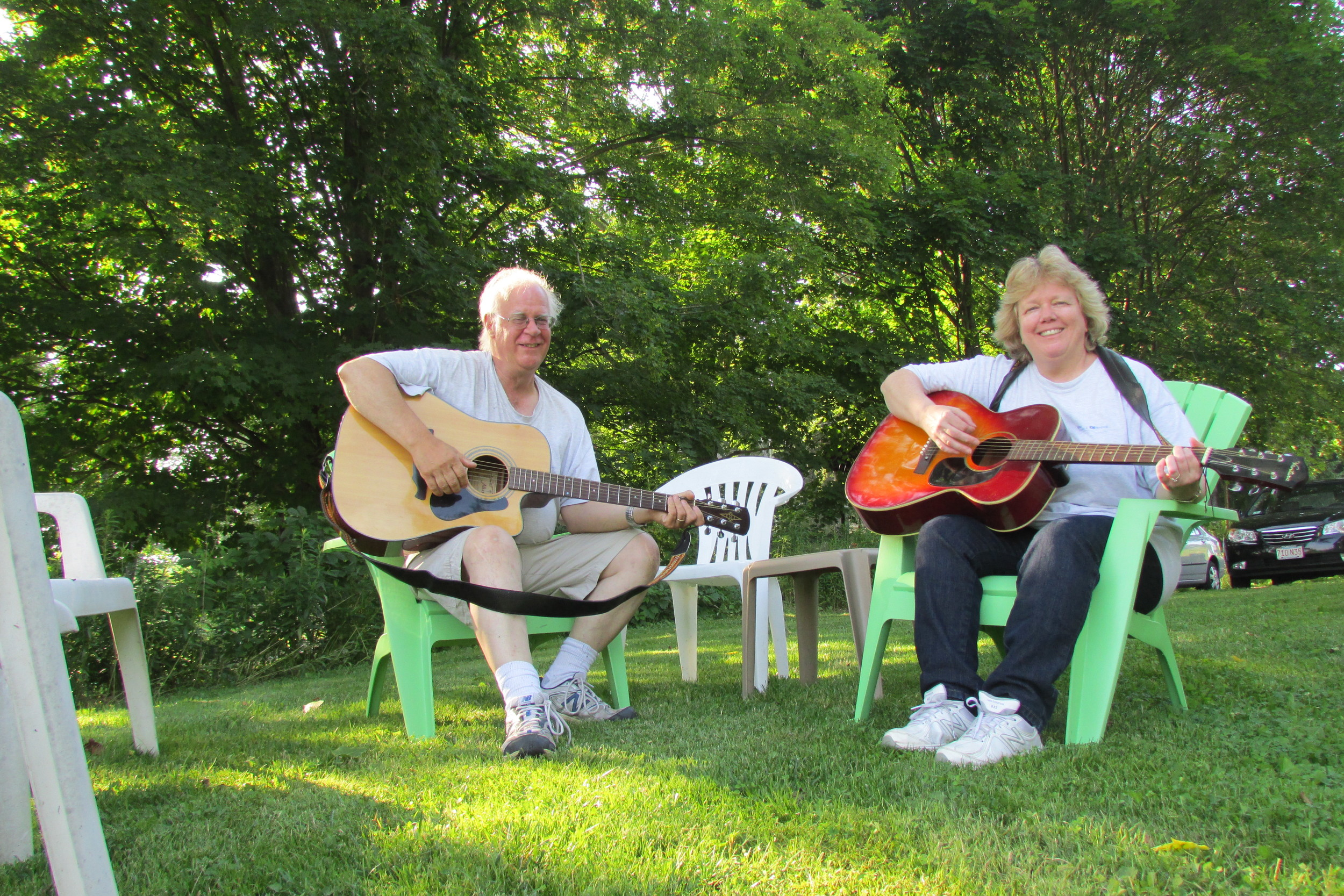 Marty Plankey and his wife, Jean, enjoying some downtime and picking a few tunes in the summer sun (Summer 2014).