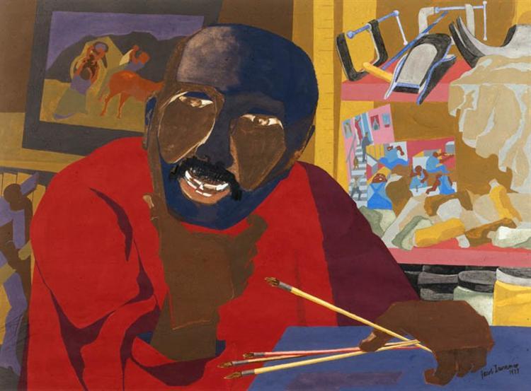 """Image description: JACOB LAWRENCE, """"Self-Portrait, 1977 (gouache and tempera on paper)."""