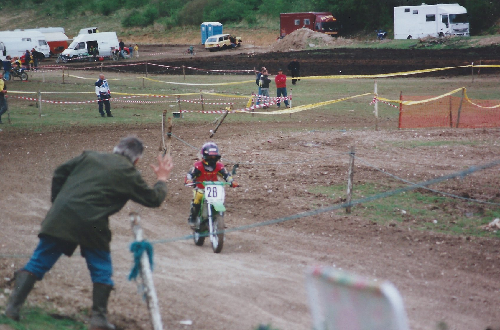 Showing the boys how it's done on the motocross circuit