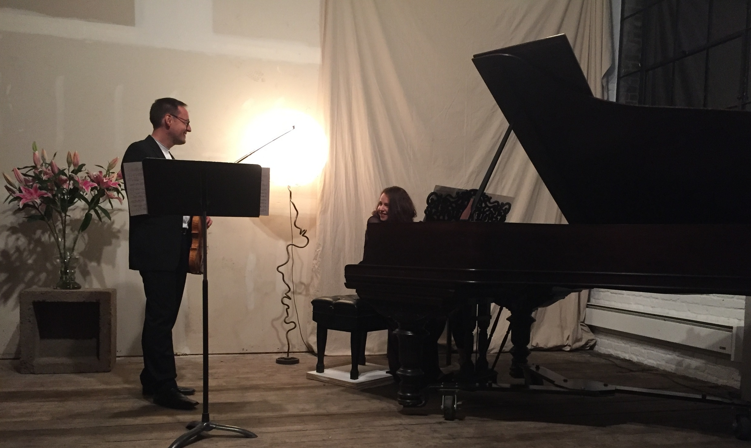 Before the Queen of the Hudson Music Series recital, with Tobias Steymans.