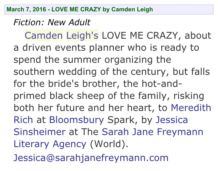camden leigh bloomsbury spark publishers marketplace new adult romance