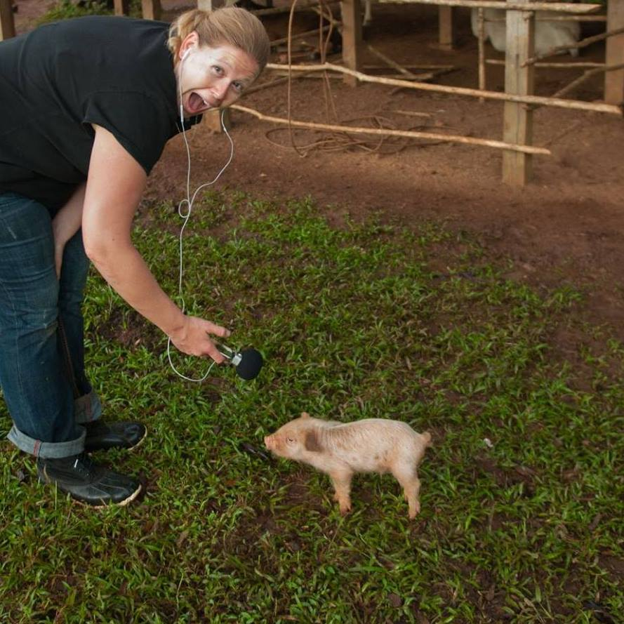 Capturing ambient audio at an indigenous village on the Caribbean coast of Nicaragua.