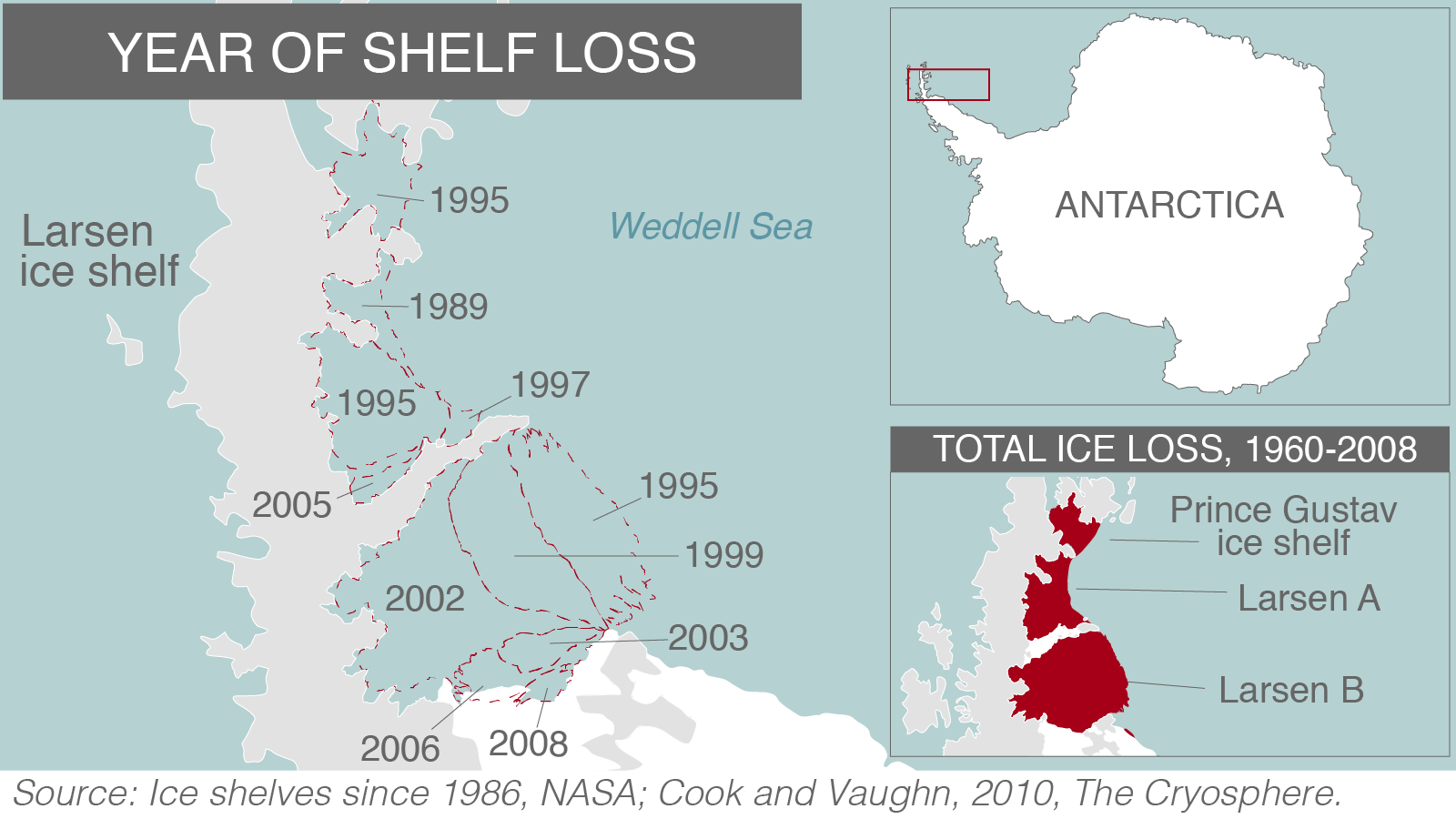 The map above shows ice loss around the Larsen B ice shelf, which is just to the north of Larsen C. Large pieces of the shelf melted in the years before it collapsed in 2002. ( Source: USGS (I-2600), Cook and Vaughn, NASA.)