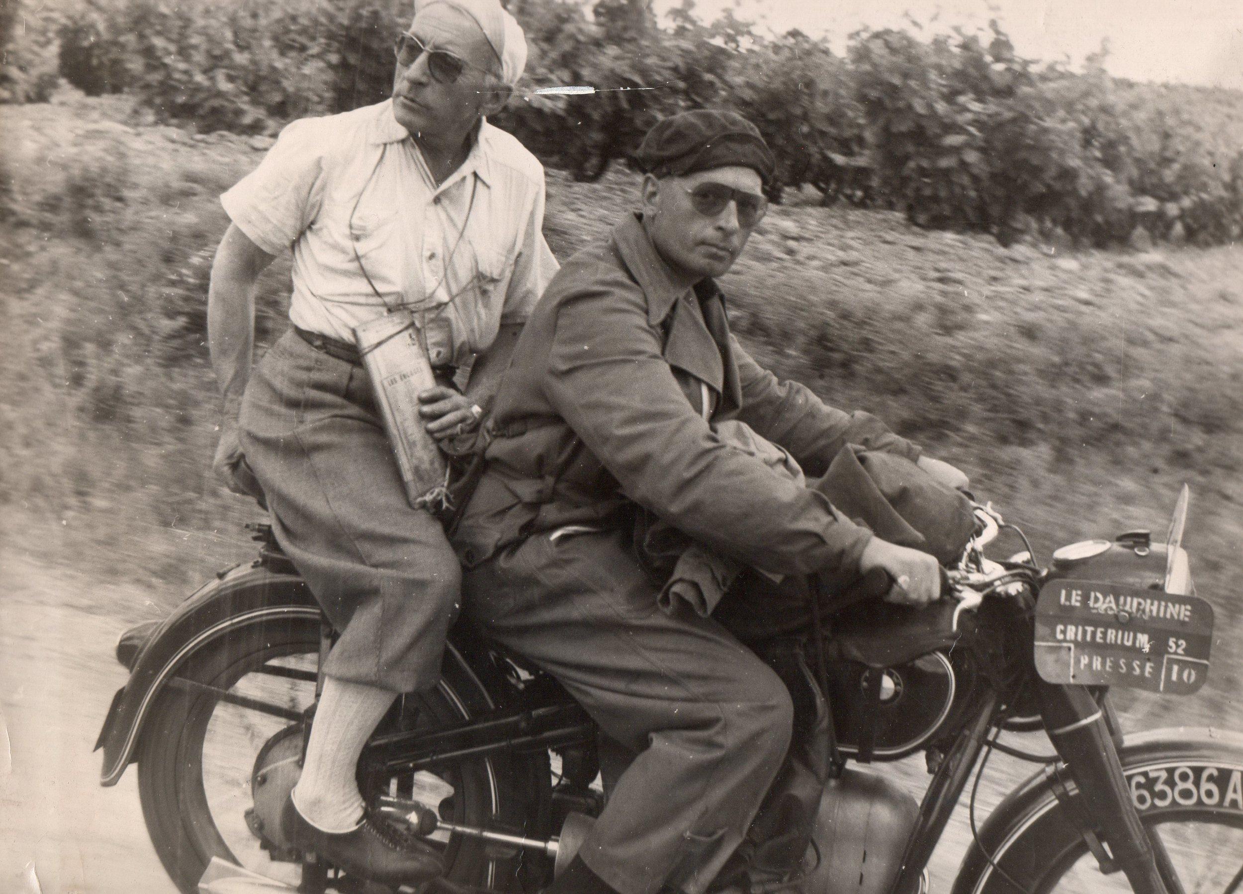 French radio reporter and bon vivant Alex Virot and his driver René Wagner during the 1952 Critérium du Dauphiné