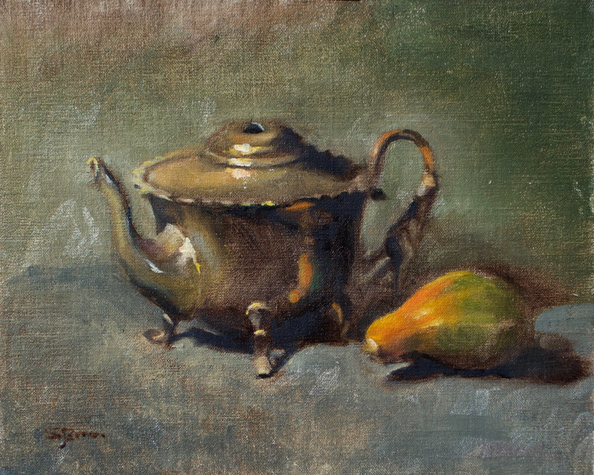 Still Life with Teapot   Oil on linen board