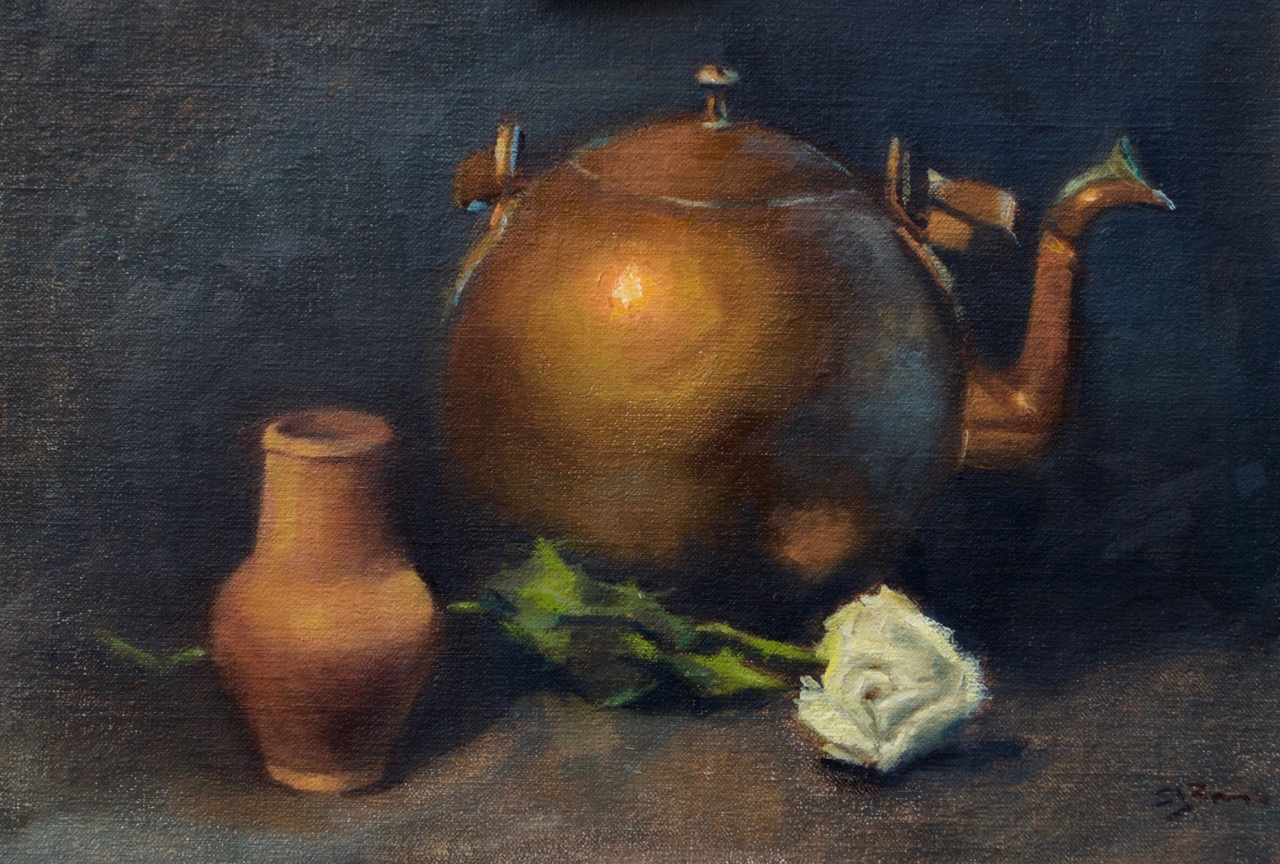 Still Life with Copper Kettle   Oil on Linen Board